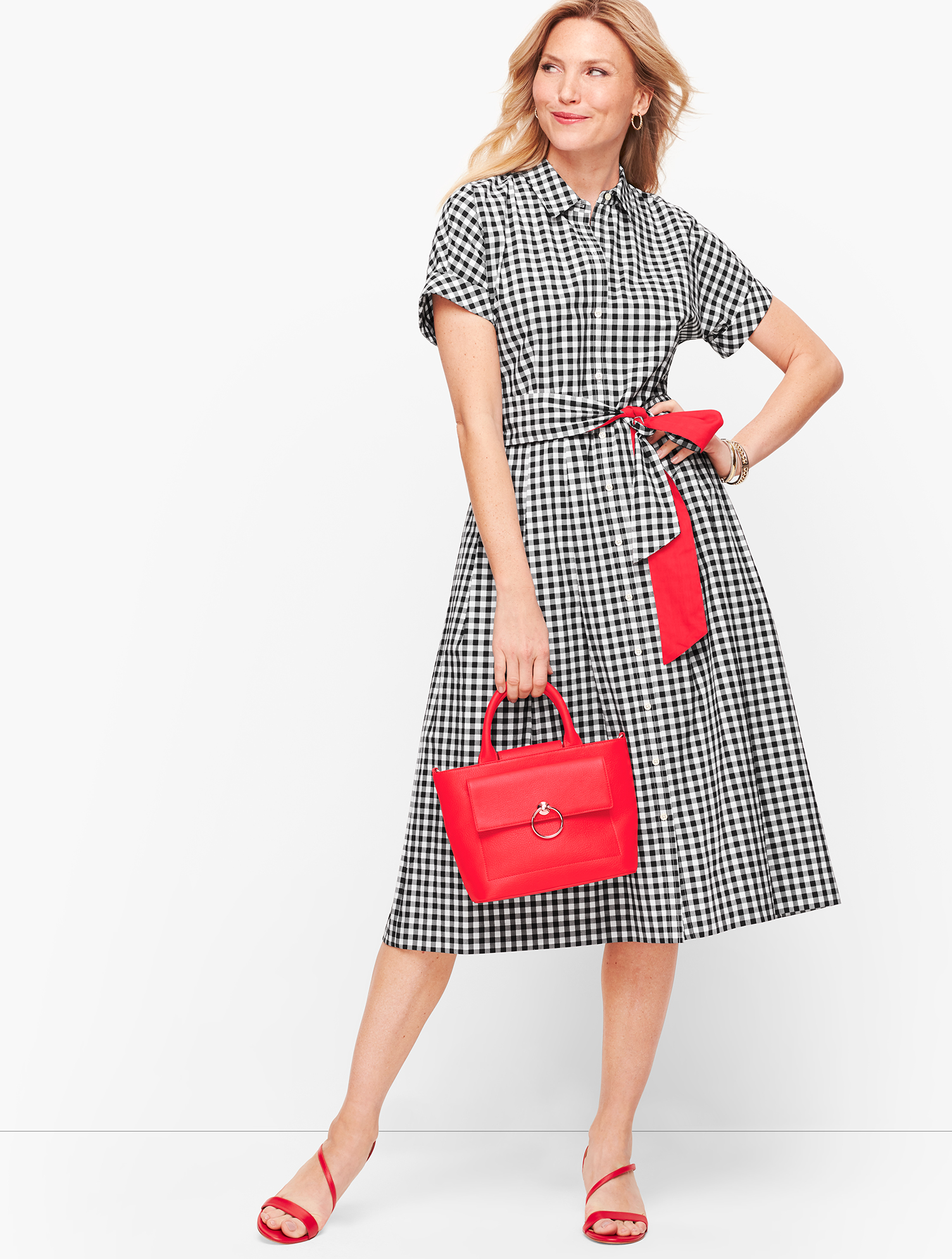 Fifties Dresses : 1950s Style Swing to Wiggle Dresses Gingham Shirt Dress - Black - 16 - 100 Cotton Talbots $139.00 AT vintagedancer.com