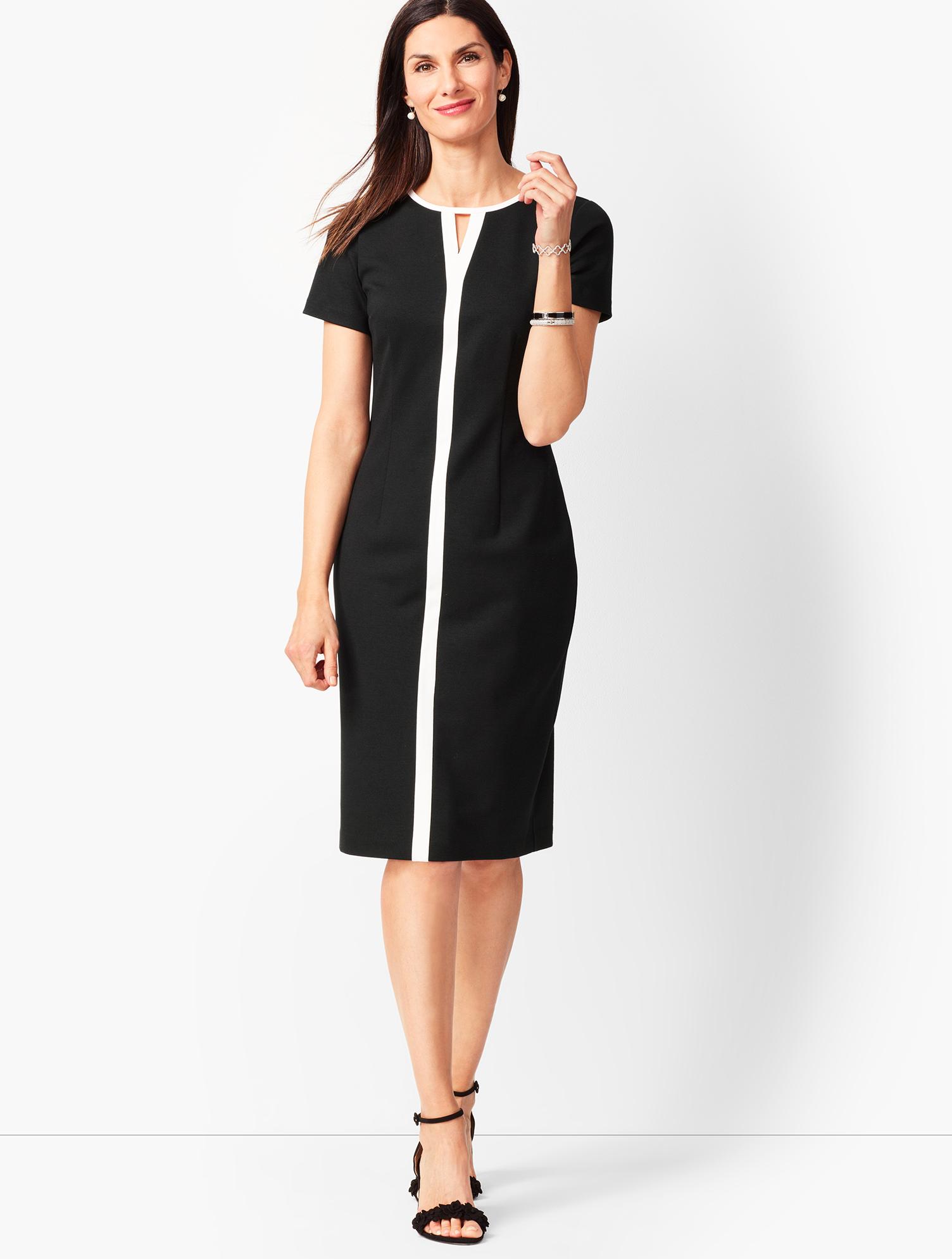 60s 70s Plus Size Dresses, Clothing, Costumes Refined Ponte Sheath Dress - BLACKIVORY - 16 - Talbots $29.39 AT vintagedancer.com