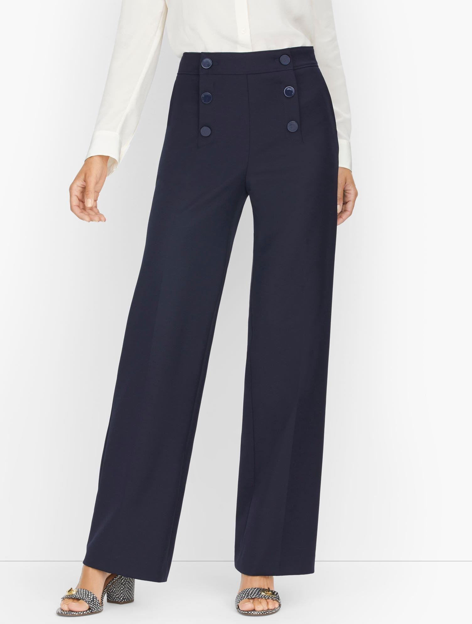 1940s Swing Pants & Sailor Trousers- Wide Leg, High Waist Wide Leg Sailor Pants - Blue - 16 Talbots $119.00 AT vintagedancer.com
