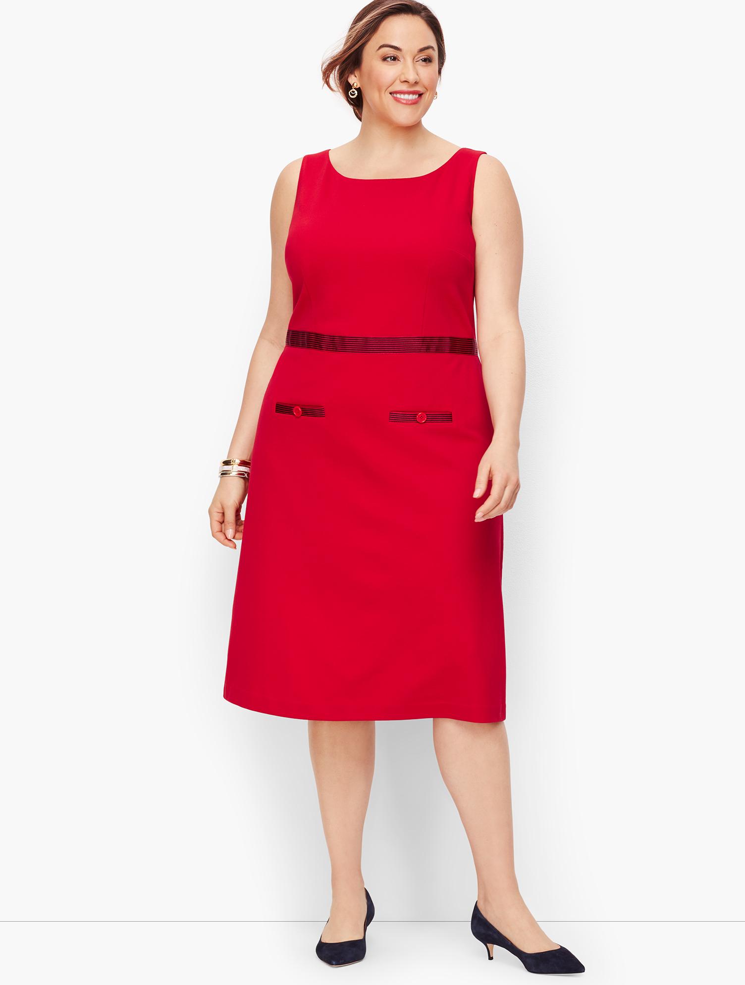 60s 70s Plus Size Dresses, Clothing, Costumes Ponte Grosgrain-trim Sheath Dress - Stripe - RED-POP - 22 - Talbots $119.99 AT vintagedancer.com