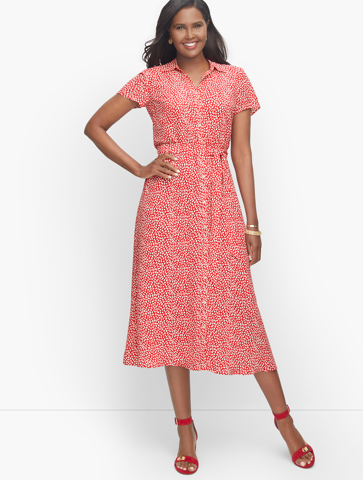 Modest, Mature, Mrs. Vintage Dresses – 20s, 30s, 40s, 50s, 60s Leopard Tie-Waist Midi Dress - RedWhite - 22 Talbots $119.99 AT vintagedancer.com