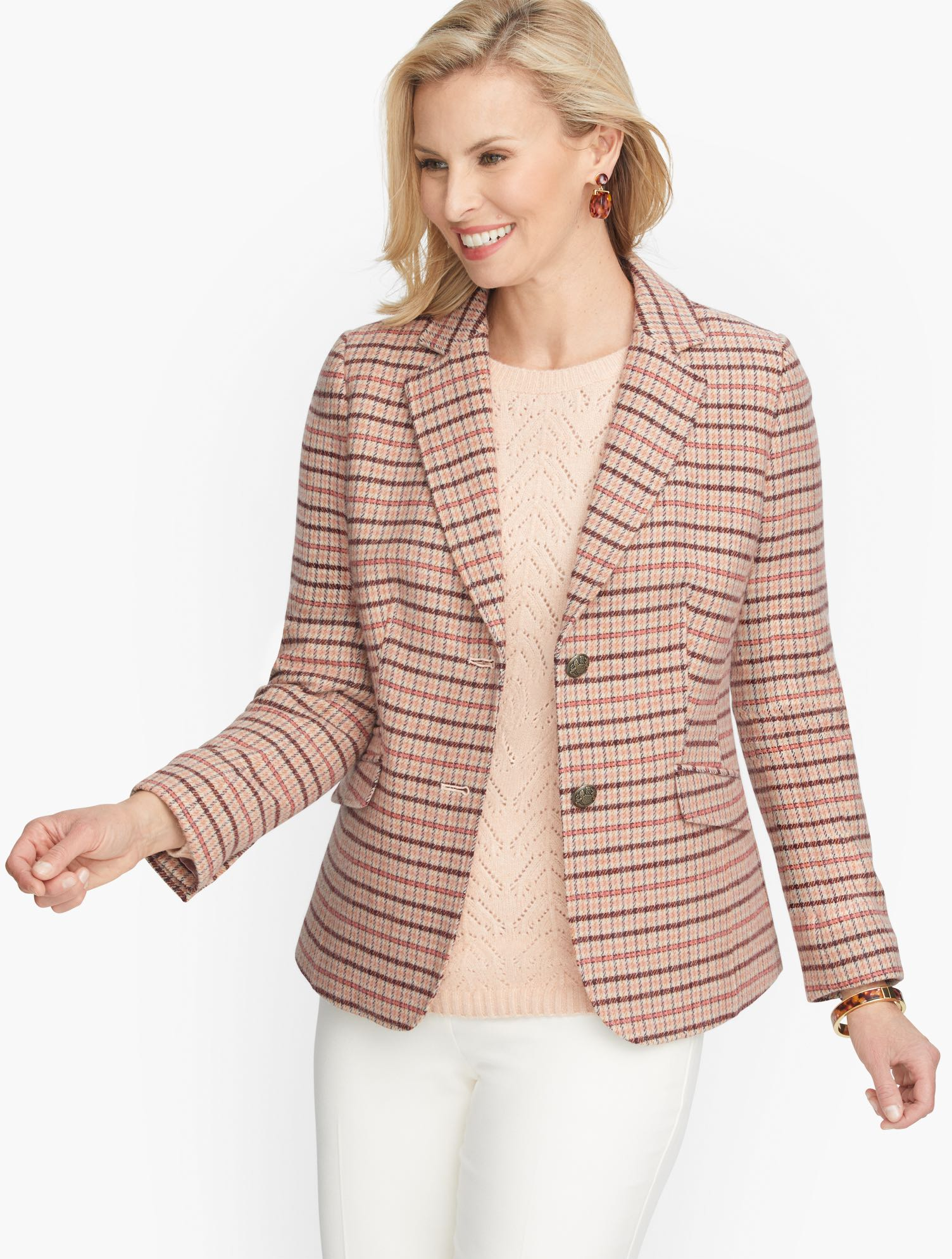 1930s Style Coats, Jackets | Art Deco Outerwear Classic Shetland Blazer - Plaid - Coral Gourd - 22 Talbots $89.50 AT vintagedancer.com