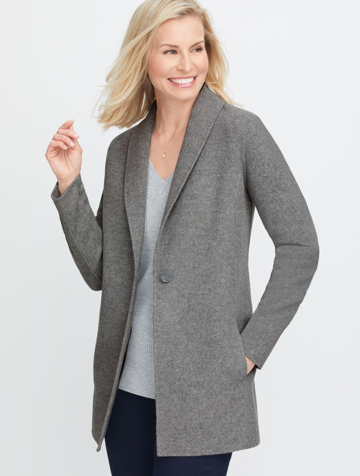 Vintage Coats & Jackets | Retro Coats and Jackets Shawl Collar Double Face Blazer - Mist Heather - 16 Talbots $289.00 AT vintagedancer.com