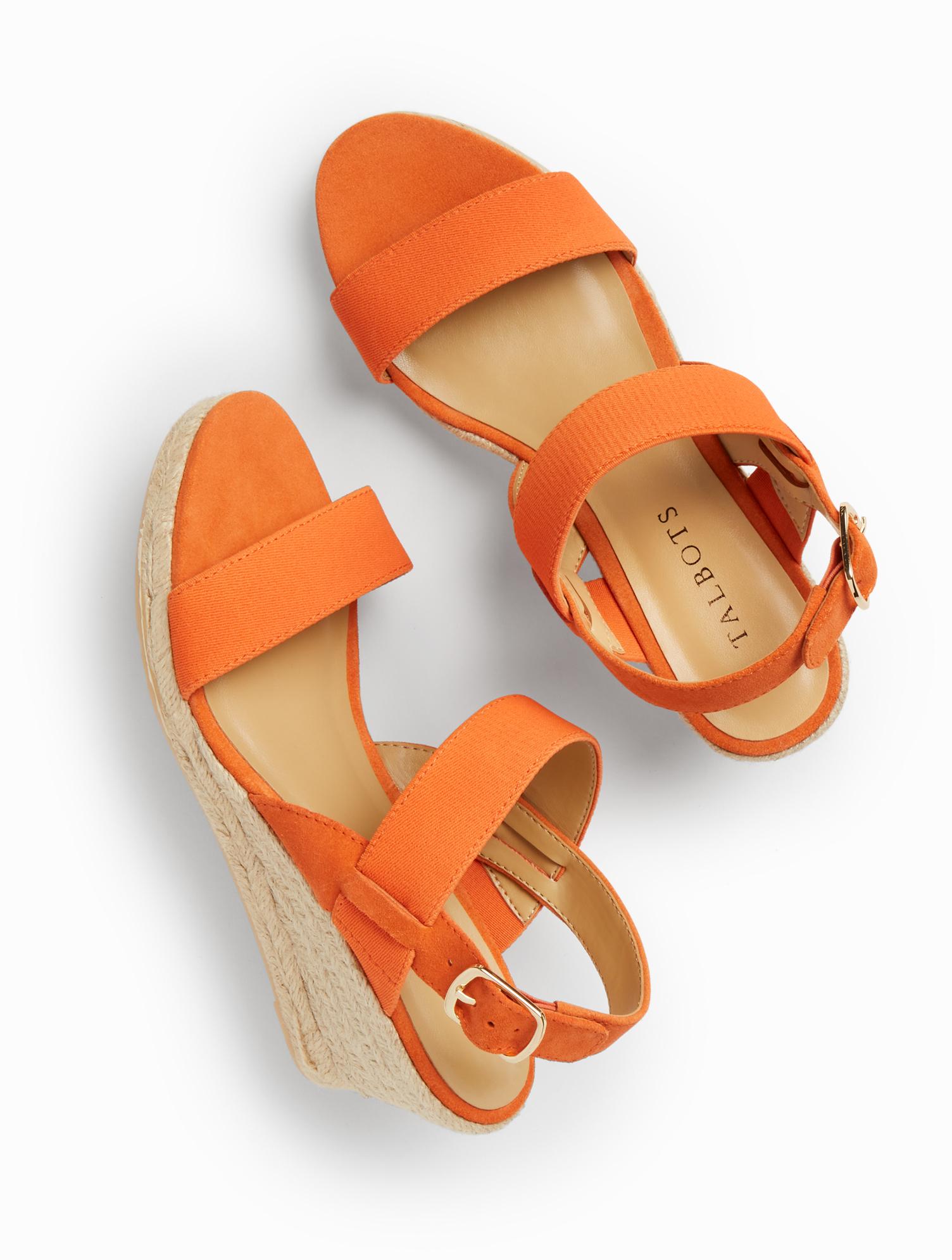 Vintage Sandals | Wedges, Espadrilles – 30s, 40s, 50s, 60s, 70s Lyndsay Suede  Elastic Espadrille Wedges - Nectarine - 11M Talbots $119.00 AT vintagedancer.com