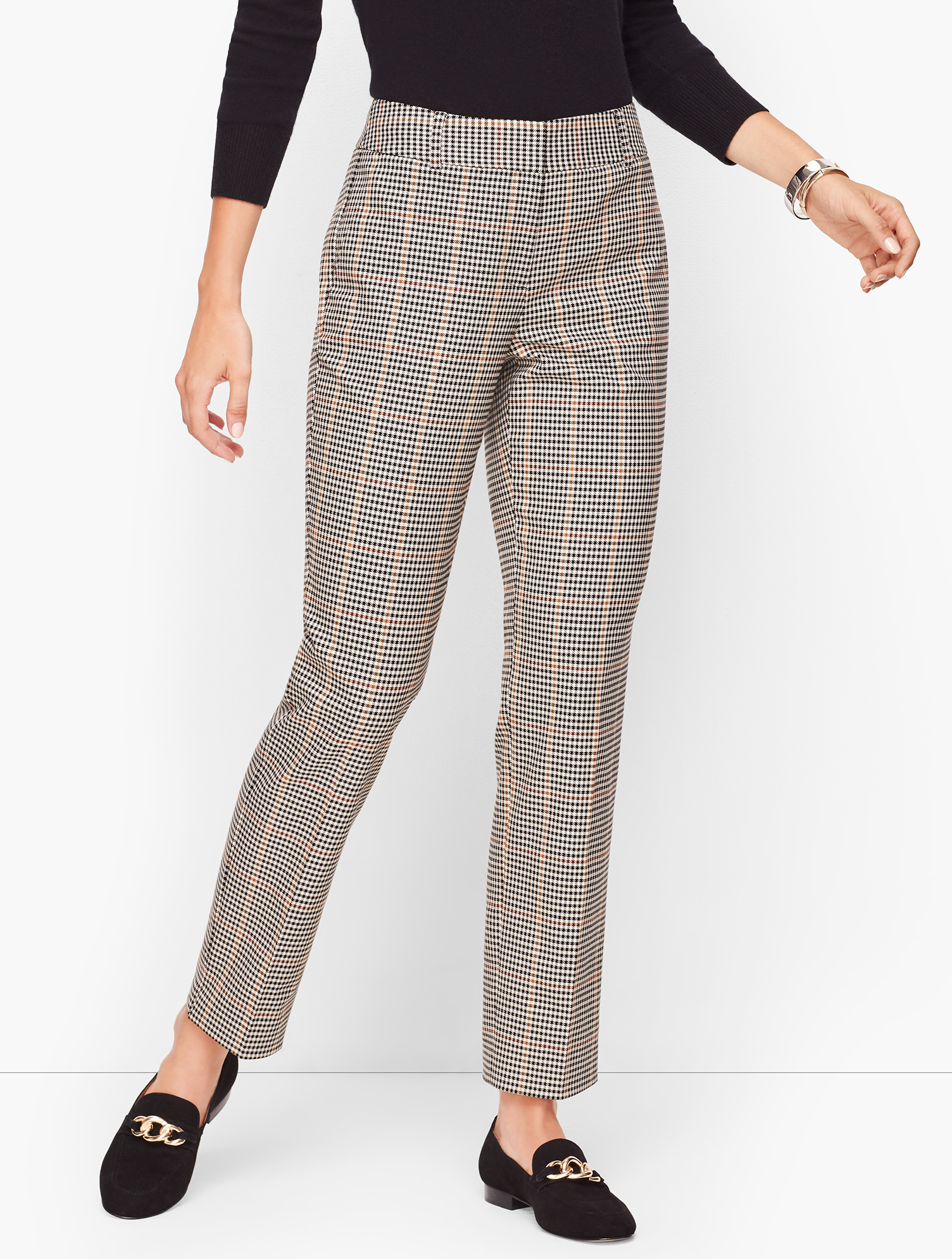 Vintage High Waisted Trousers, Sailor Pants, Jeans Talbots Hampshire Ankle Pants - Colton Check - Curvy Fit - Black Mutli - 16 $49.99 AT vintagedancer.com