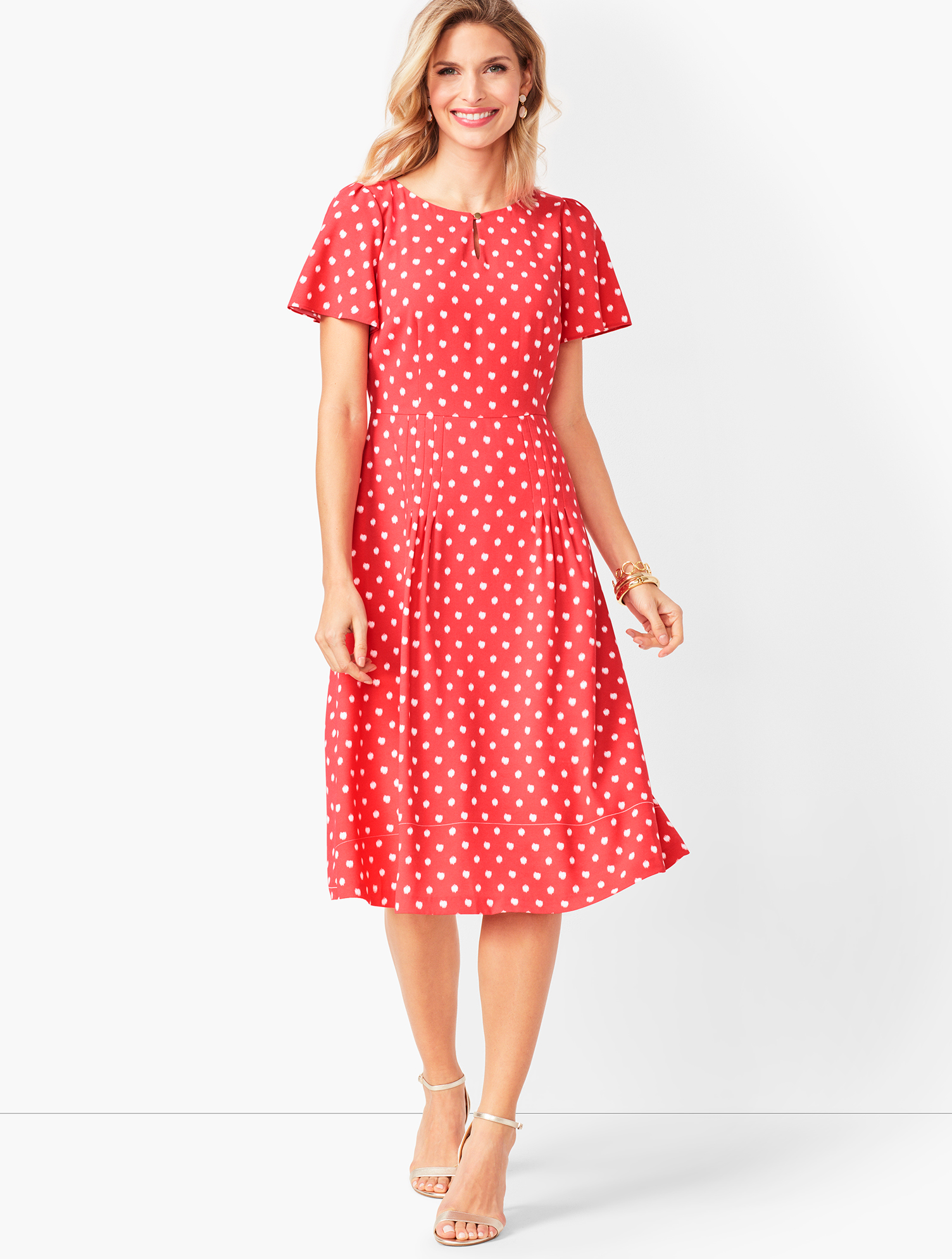 1930s Day Dresses, Tea Dresses, House Dresses Ikat Dot Fit  Flare Dress - PAPAYA - 16 - Talbots $119.99 AT vintagedancer.com