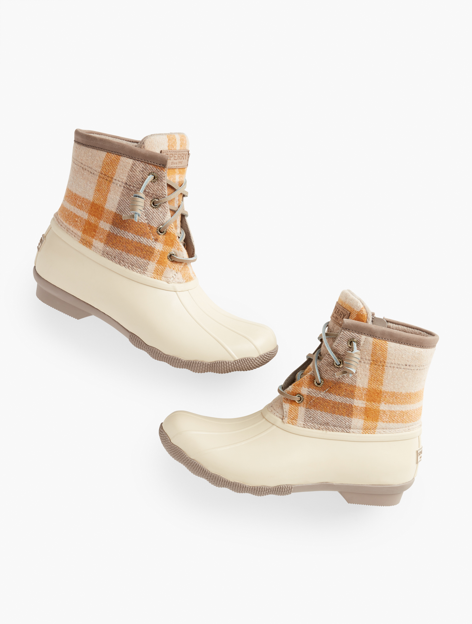 Vintage Winter Retro Boots – Snow, Rain, Cold Sperry Saltwater All Weather Boots - Wool Plaid - Ivory - 11M Talbots $100.00 AT vintagedancer.com