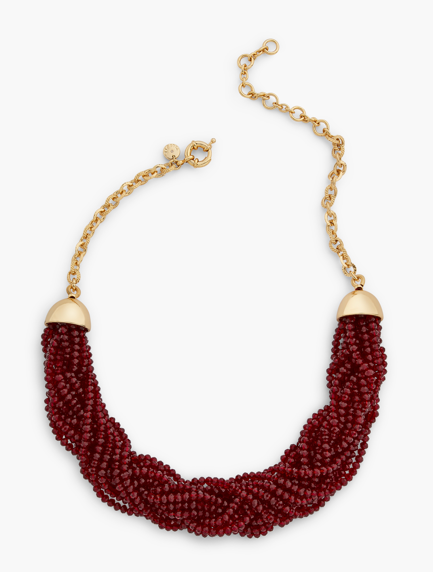 A torsade twist is at the heart of the statement necklace of the season. Features Clasp: Lobster Imported Fit: 20 inches + 3 inches Extender Material: 40% Zinc, 50% Glass, 9% Brass, 1% CZ Red Pop Torsade Necklace - Red/Gold - 001 Talbots