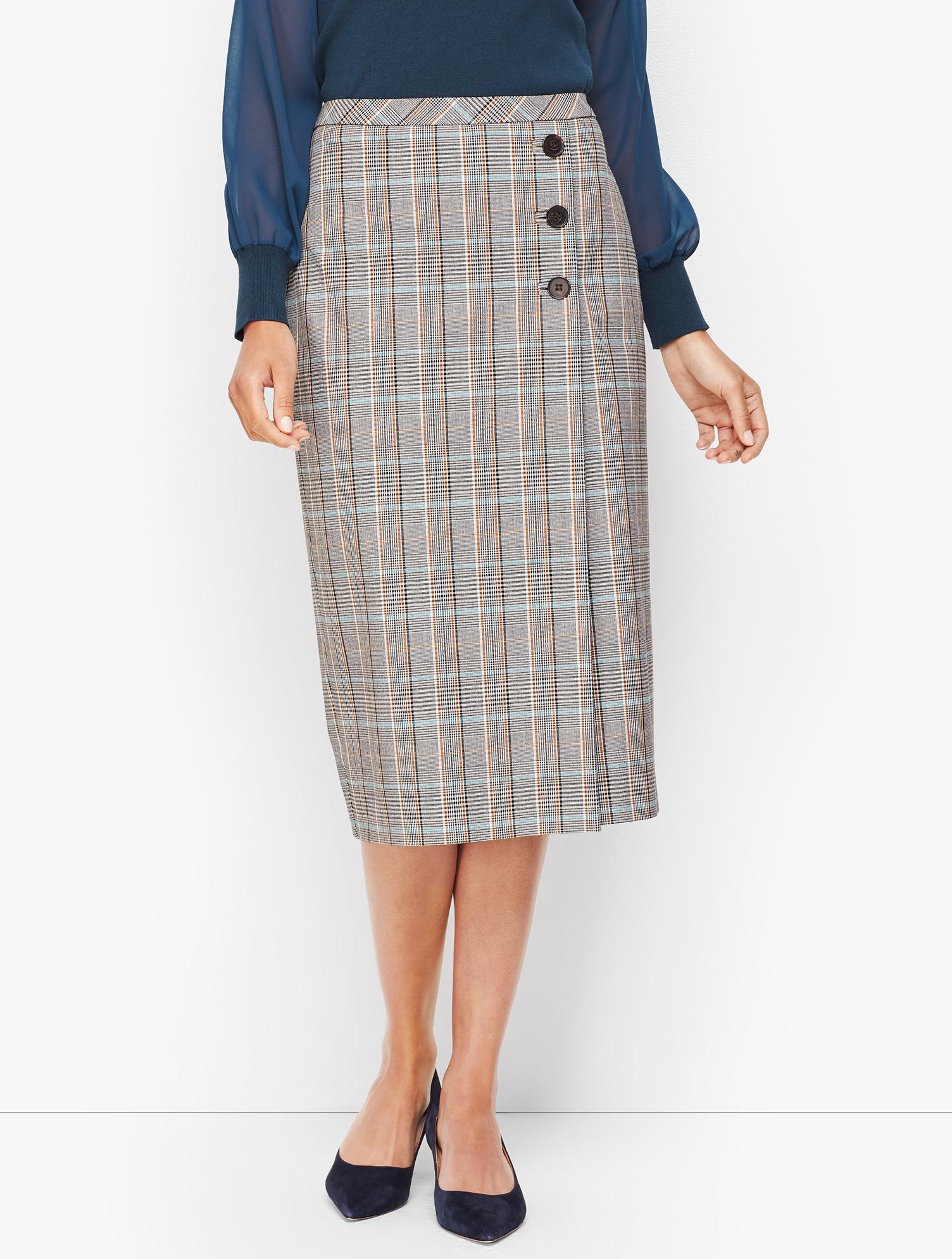 60s Skirts | 70s Hippie Skirts, Jumper Dresses Macintosh Plaid Faux Wrap Pencil Skirt - TEAL-BLUE-MULTI - 16 - Talbots $55.69 AT vintagedancer.com