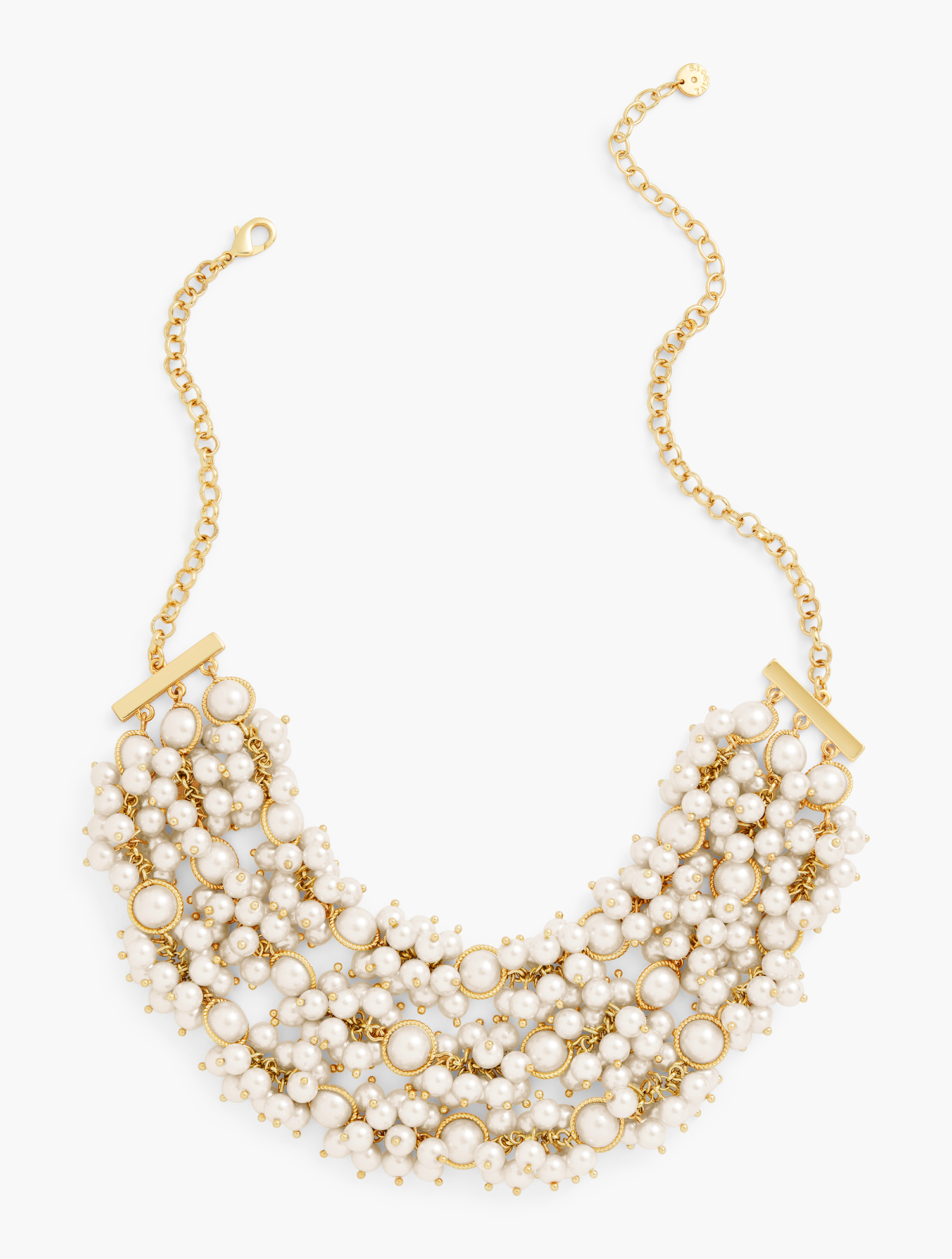 A true statement-maker. This pearl and glass bead necklace will elevate any outfit. Features Closure: Lobster Clasp Imported Fit: Dimensions: 18 inches + 3 inches Material: CP Chain 25%, glass pearl 50%, acrylic pearl 15%,zinc casting 5%, ball pin 4%, CZ 1% Pearl Strand Statement Necklace - Ivory - 001 Talbots