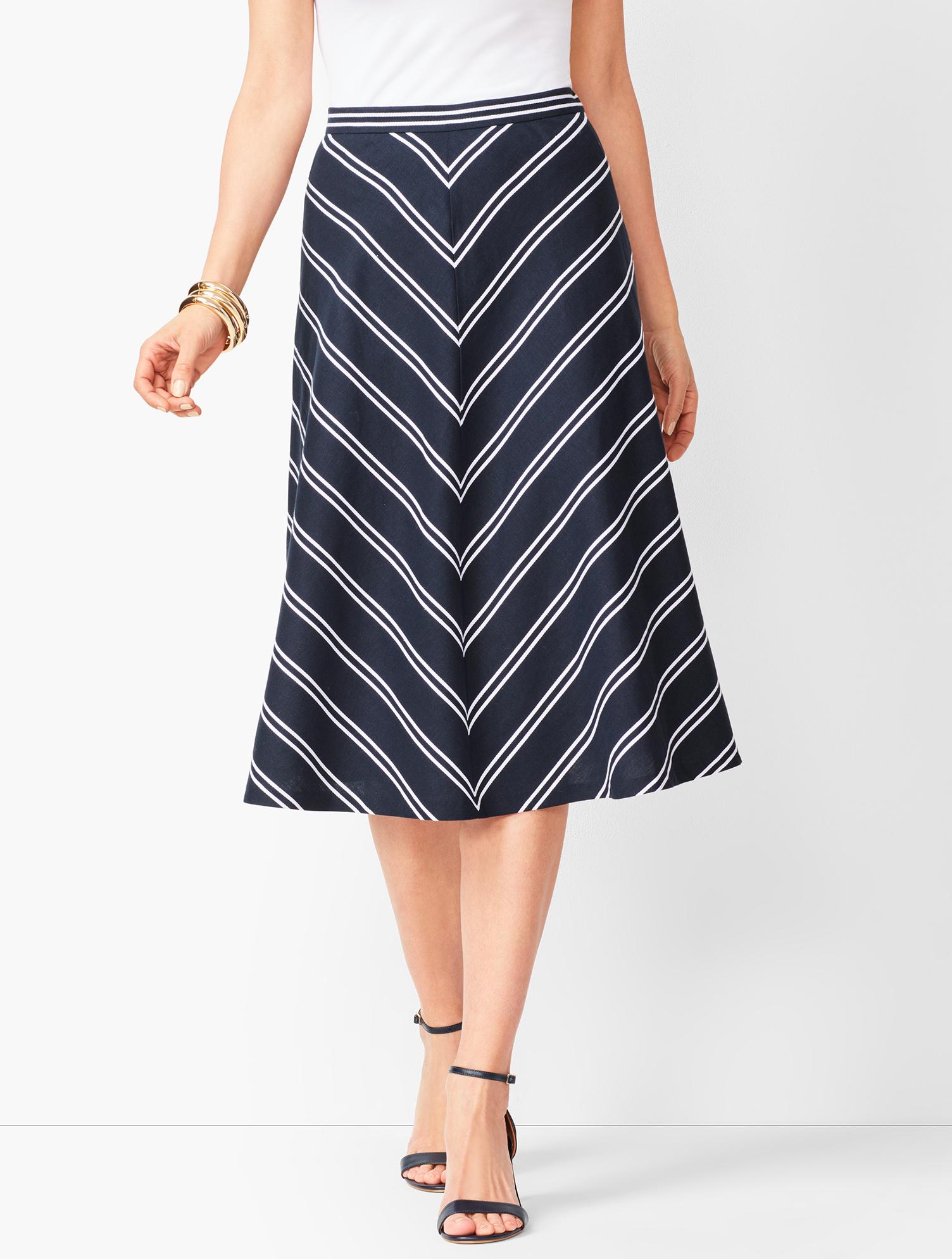 60s Skirts | 70s Hippie Skirts, Jumper Dresses Dobby-weave Stripe Midi Skirt - INDIGO-BLUEWHITE - 14 - Talbots $26.24 AT vintagedancer.com