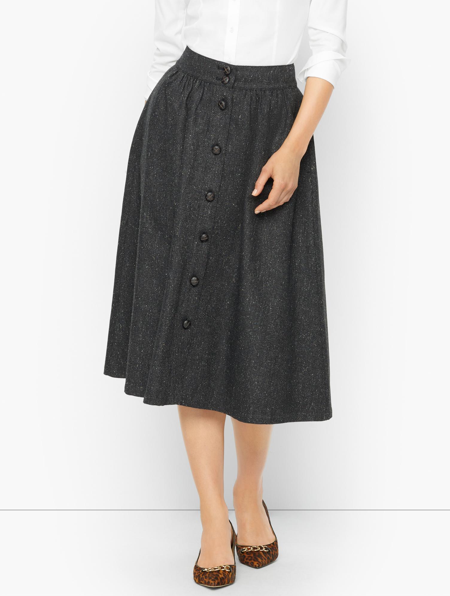 1940s Teenage Fashion: Girls Petite - Donegal Button Front Midi Skirt - Black - 16 Talbots $119.00 AT vintagedancer.com