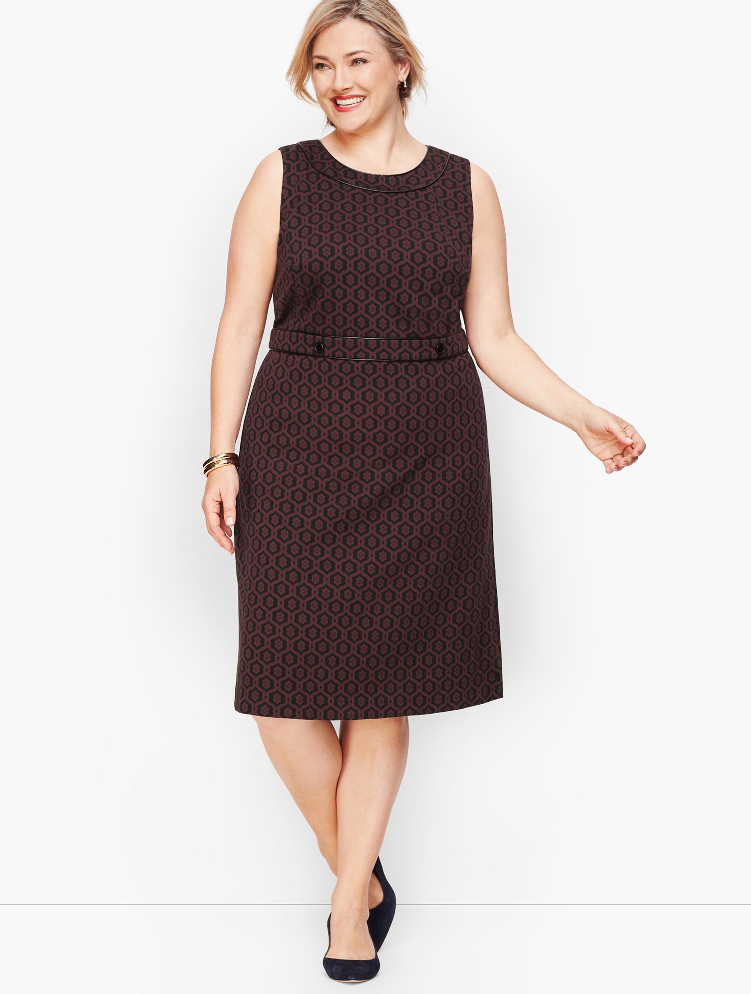60s 70s Plus Size Dresses, Clothing, Costumes Tipped Geo Floral Sheath Dress - BLACKRICH-BURGUNDY - 24 - Talbots $54.59 AT vintagedancer.com