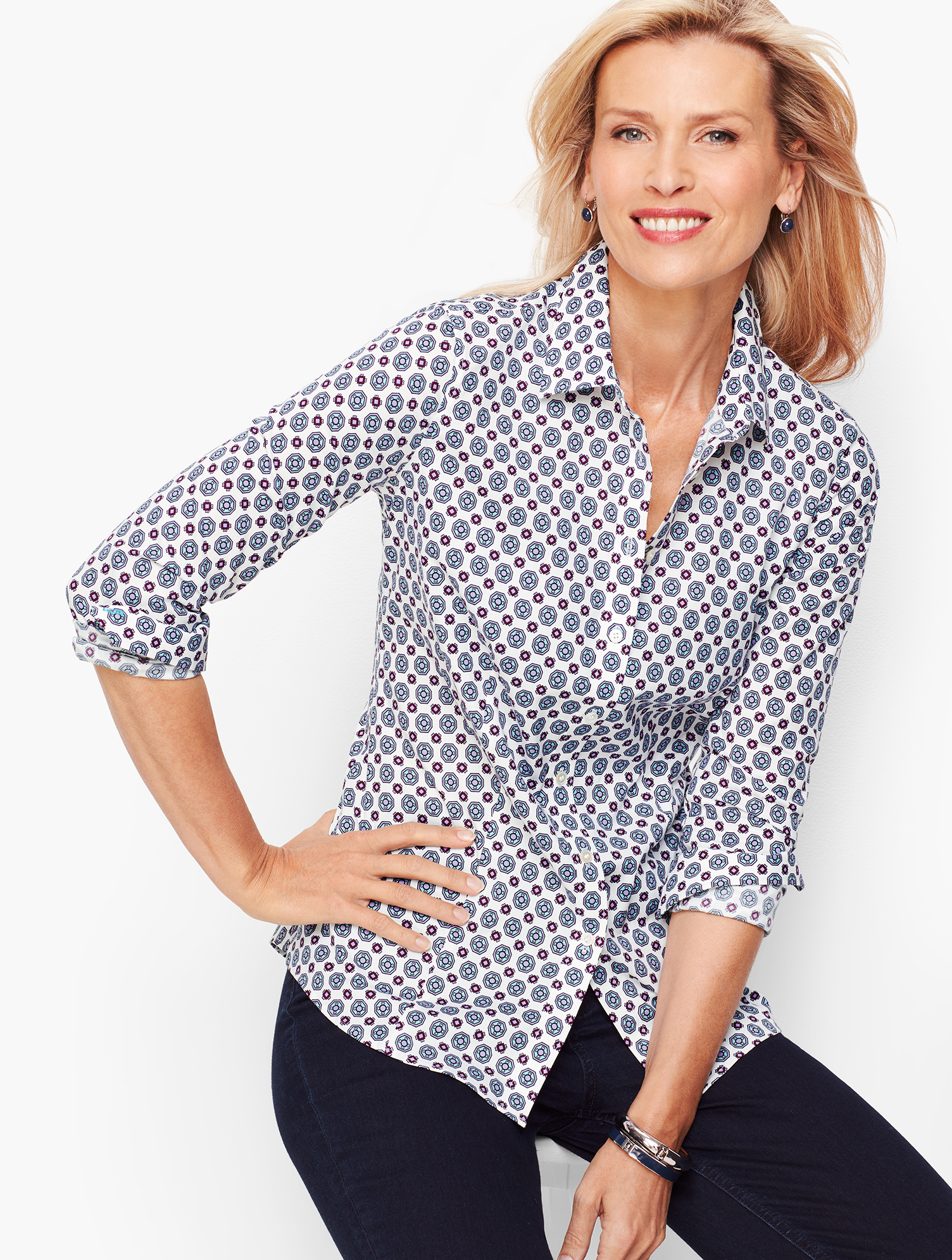 60s Shirts, T-shirt, Blouses, Hippie Shirts Perfect Shirt - Geo Hearts - WHITE-MULTI - 16 - Talbots $64.99 AT vintagedancer.com
