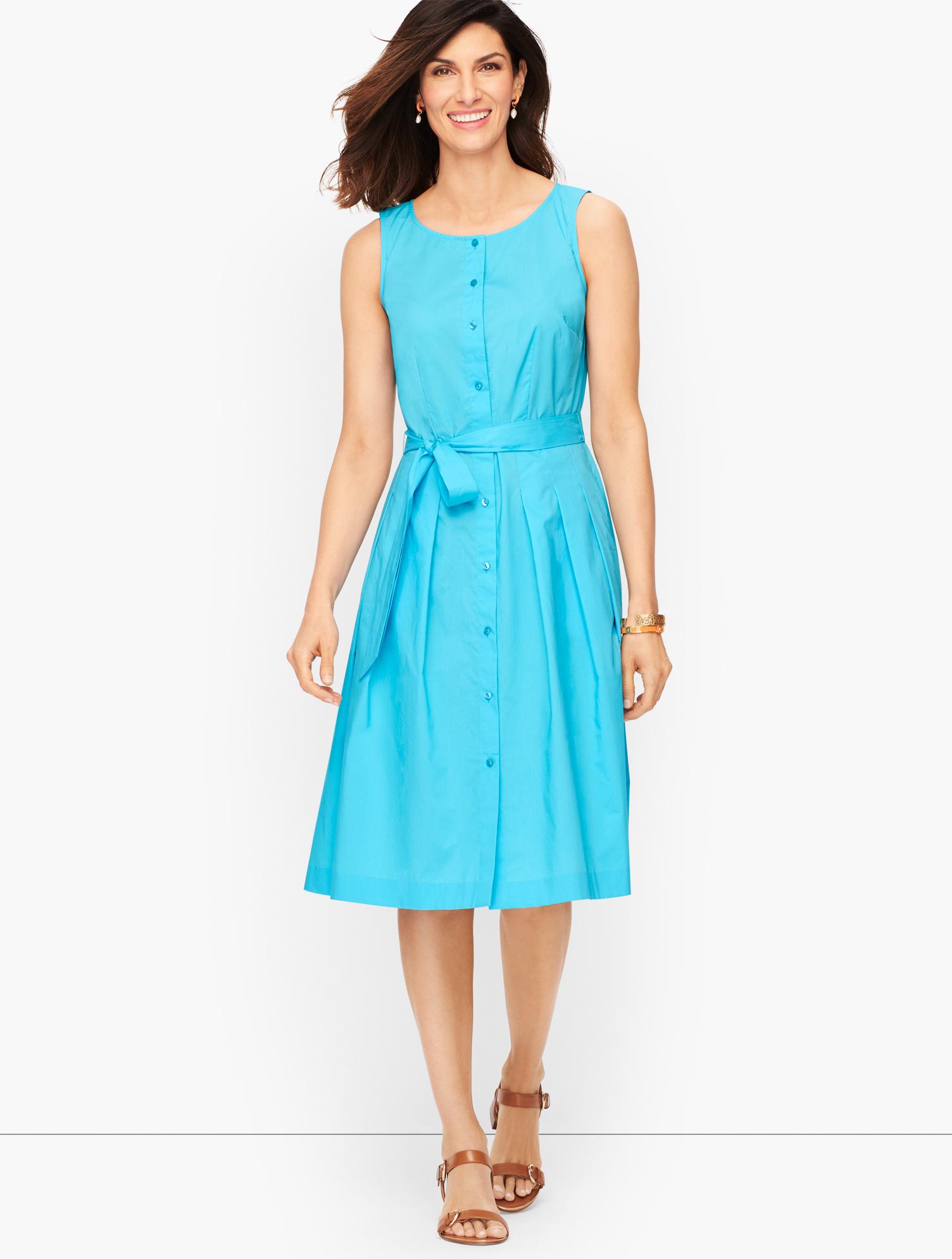 What Did Women Wear in the 1950s? 1950s Fashion Guide Silky Simple Poplin Fit  Flare Dress - Aqua Splash - 24 - 100 Cotton Talbots $159.00 AT vintagedancer.com