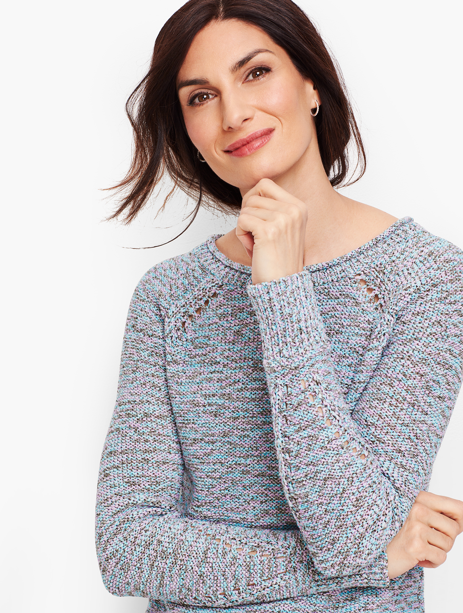 A unique dye process gives our newest sweater dimensional color, radiating warmth and style. Features Sleeve Length: LongHits: At HipNeckline: BateauImported Fit: Misses: 25 inches; Petite: 24 1/2 inches; Plus Size: 27 1/2 inches; Plus Size Petite: 26 inches Material: 66% Cotton, 34% Polyester Care: Machine Wash; Dry on Gentle Cycle Textured Knit Sweater - Grey Sky - XL Talbots