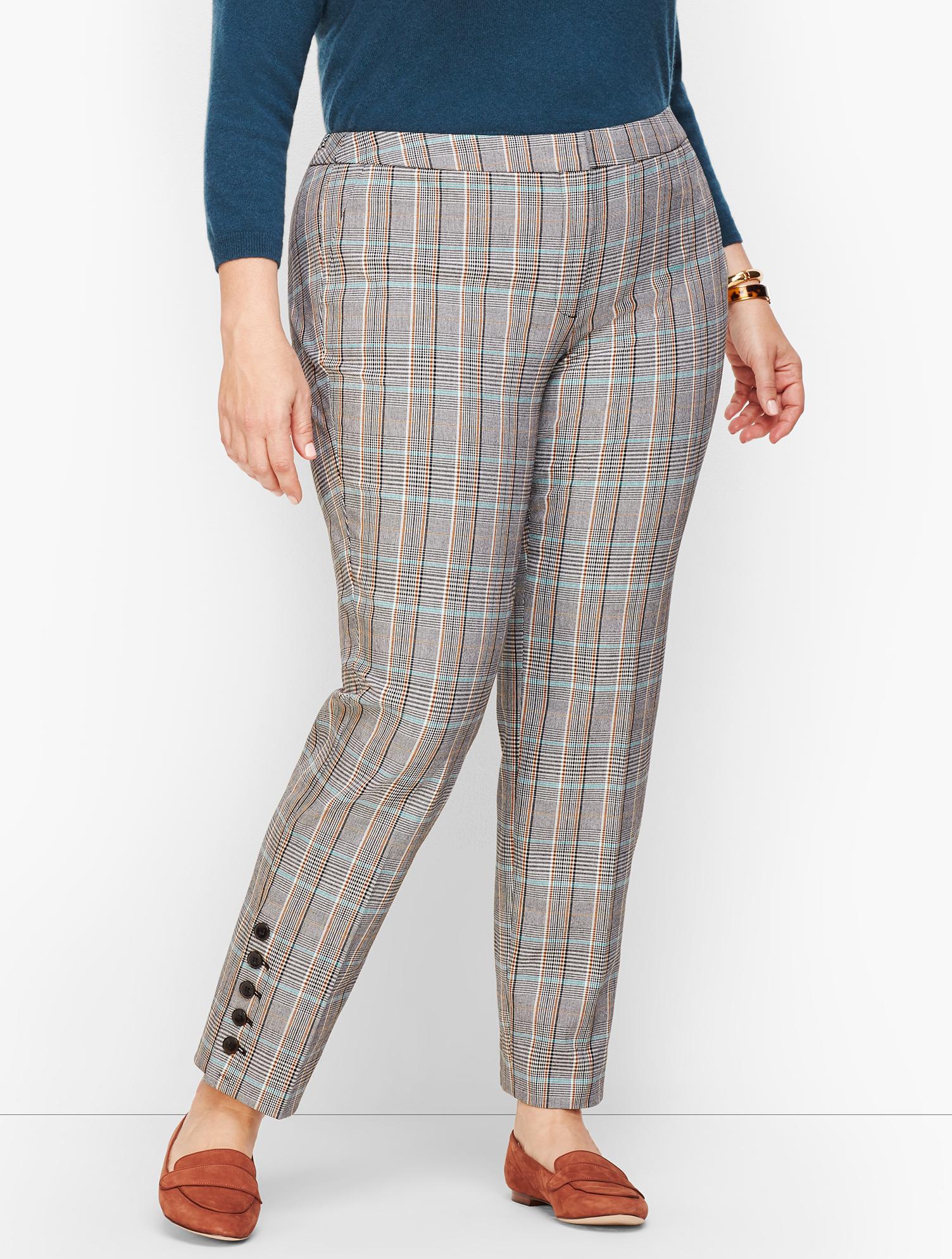 60s – 70s Pants, Jeans, Hippie, Bell Bottoms, Jumpsuits Plus Petites Size Hampshire Button Hem Ankle Pant Pants - Macintosh Plaid - TEAL-BLUE-MULTI - 22 - Talbots $61.31 AT vintagedancer.com