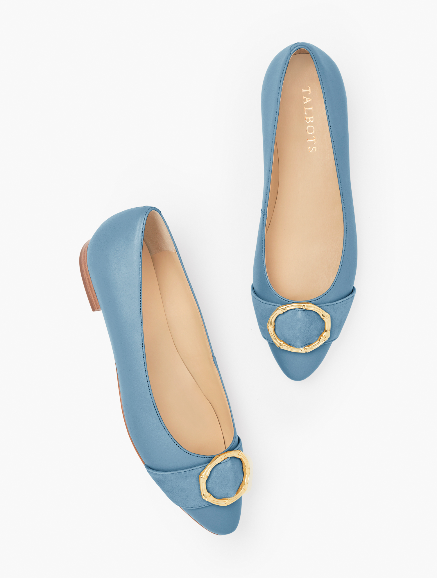 Vintage Shoes, Vintage Style Shoes Edison Bamboo Ring Nappa Flats - Blue Blossom - 11M Talbots $129.00 AT vintagedancer.com