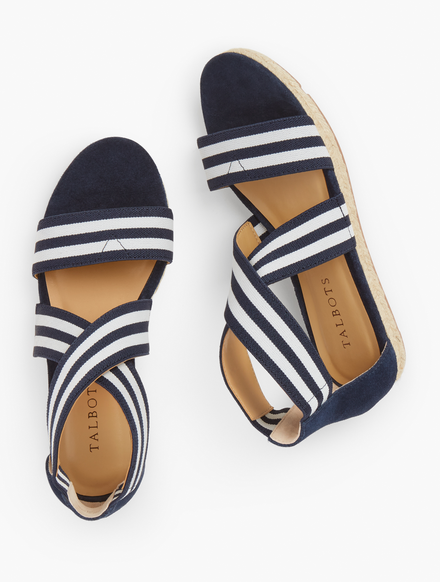 1950s Style Shoes | Heels, Flats, Boots Illyssa Espadrille Flats - Navy BlueWhite - 11M Talbots $99.00 AT vintagedancer.com