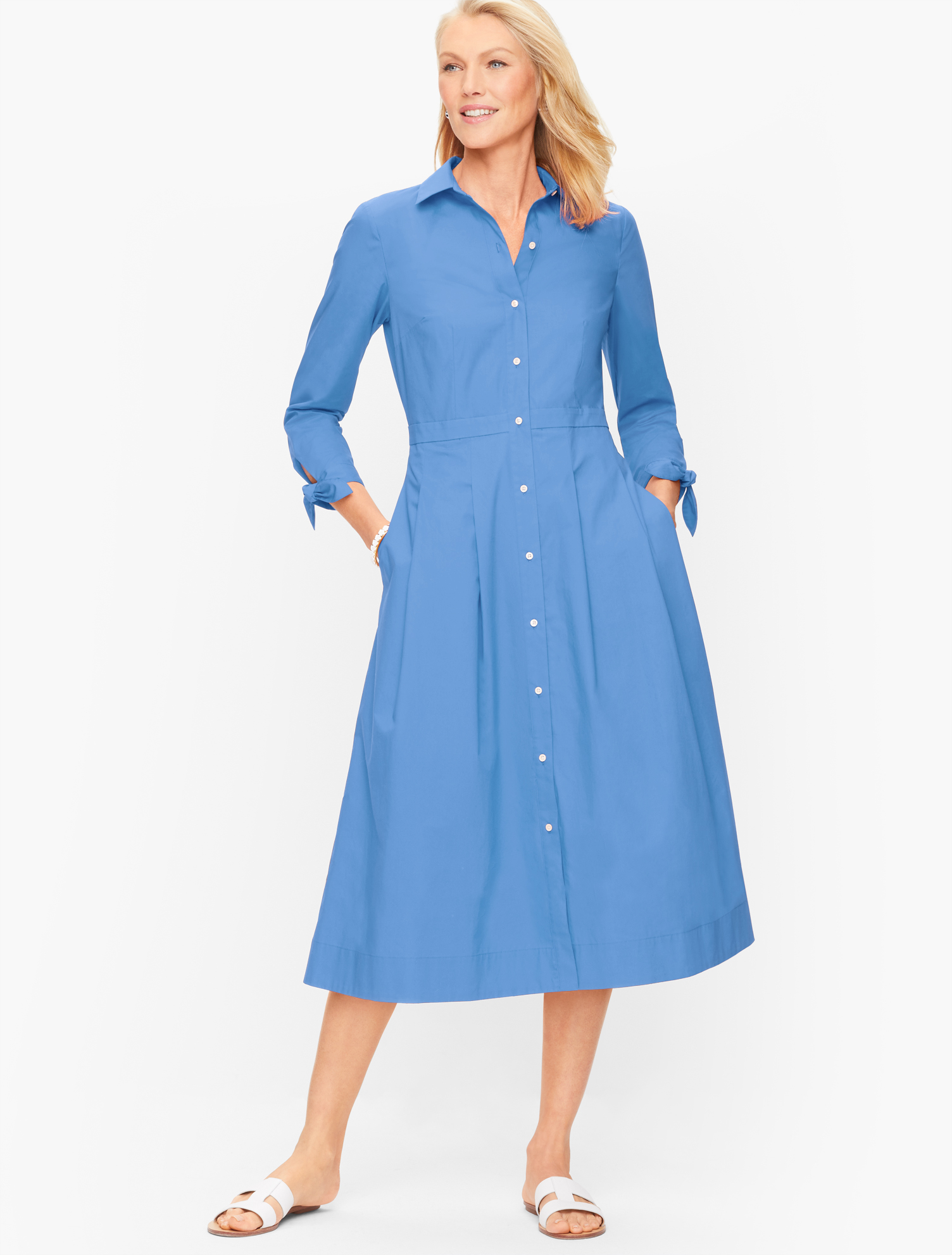 1940s Dress Styles Poplin Shirtdress - Larkspurs Blue - 22 - 100 Cotton Talbots $149.00 AT vintagedancer.com