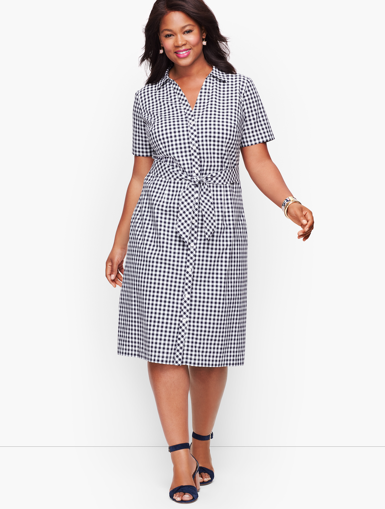 1920s Day Dresses, Tea Dresses, Mature Dresses with Sleeves Plus Size Exclusive A-Line Dress - Gingham - Blue - 22 - 100 Cotton Talbots $129.00 AT vintagedancer.com
