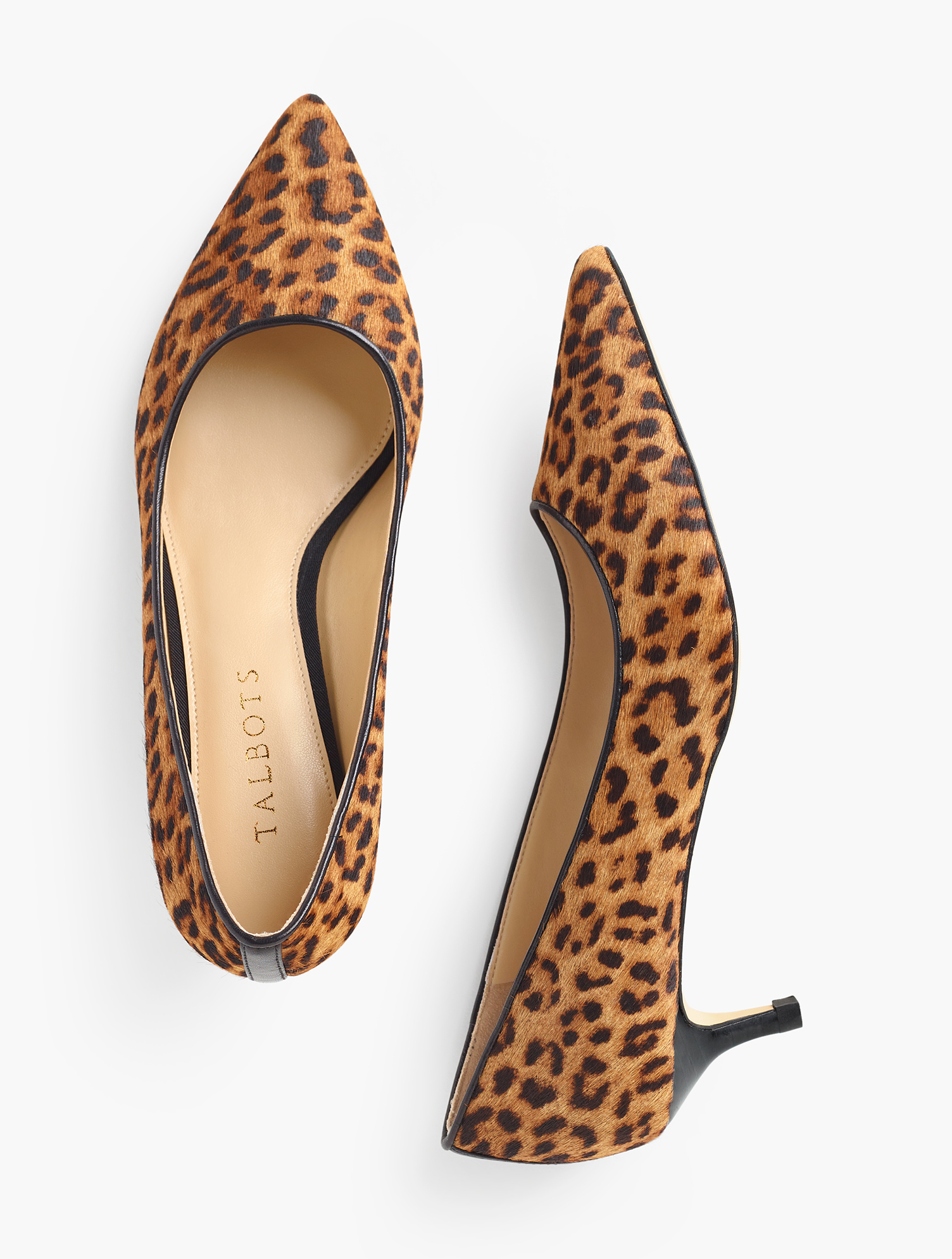 The Sylvie. Our classic kitten-heel pumps. In chic calf hair. Offered in narrow and wide sizes. Features 1 3/4 inches heelPointed toe3MM Memory foam footbedImported Material: 100% Leather Sylvie Kitten Heel Pumps - Calf Hair - Classic Leopard - 9-1/2W Talbots