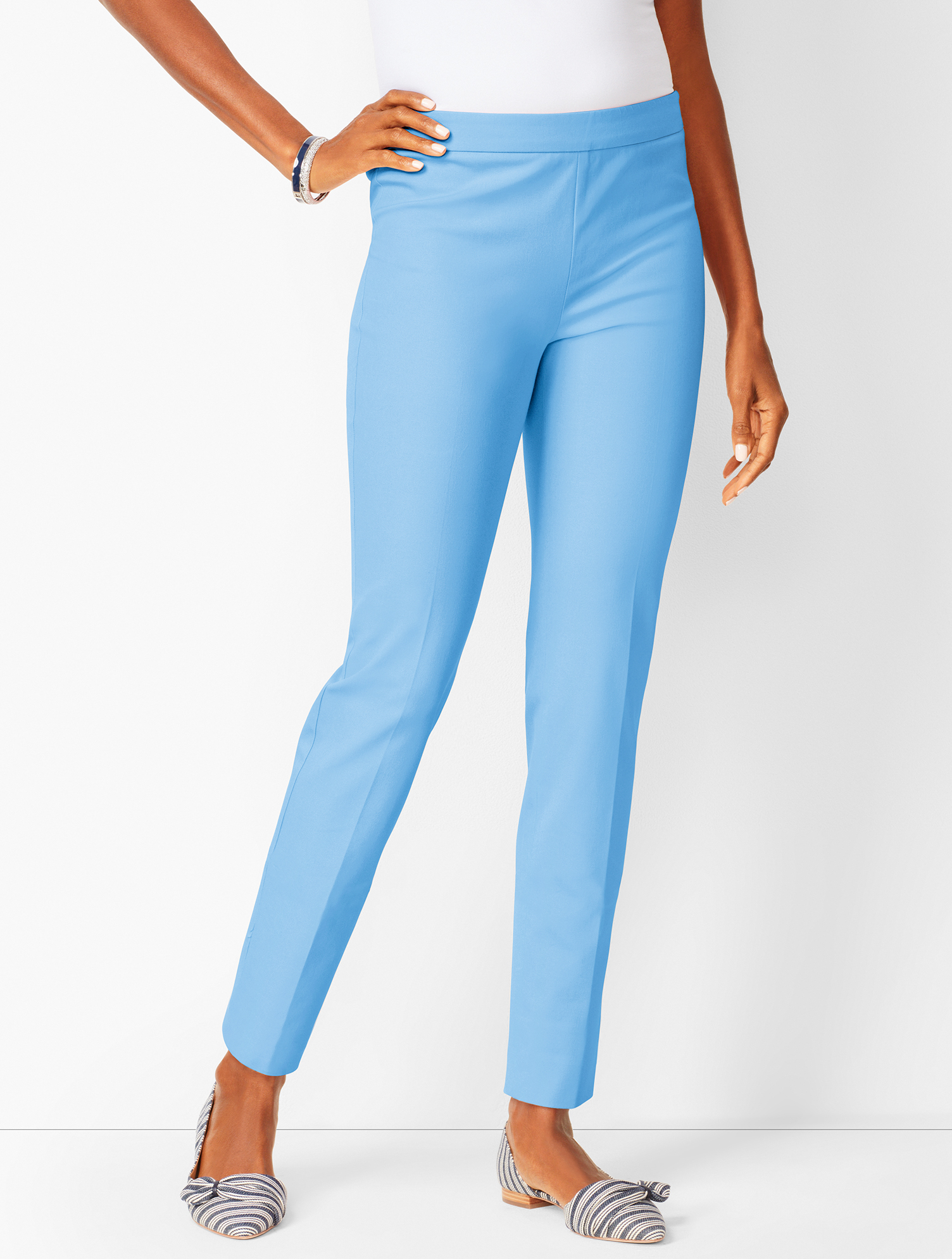 60s – 70s Pants, Jeans, Hippie, Bell Bottoms, Jumpsuits Chatham Ankle Pant Pants - Solid - COTE-BLUE - 16 - Talbots $48.99 AT vintagedancer.com
