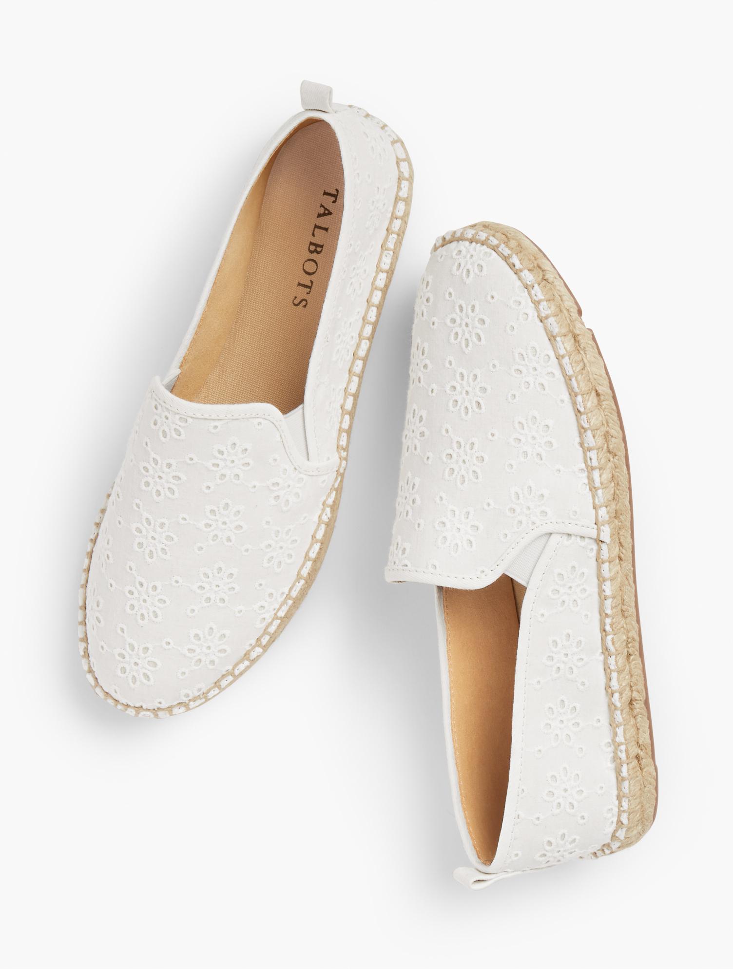1980s Clothing, Fashion | 80s Style Clothes Izzy Eyelet Espadrille Flats - White - 11M Talbots $99.00 AT vintagedancer.com