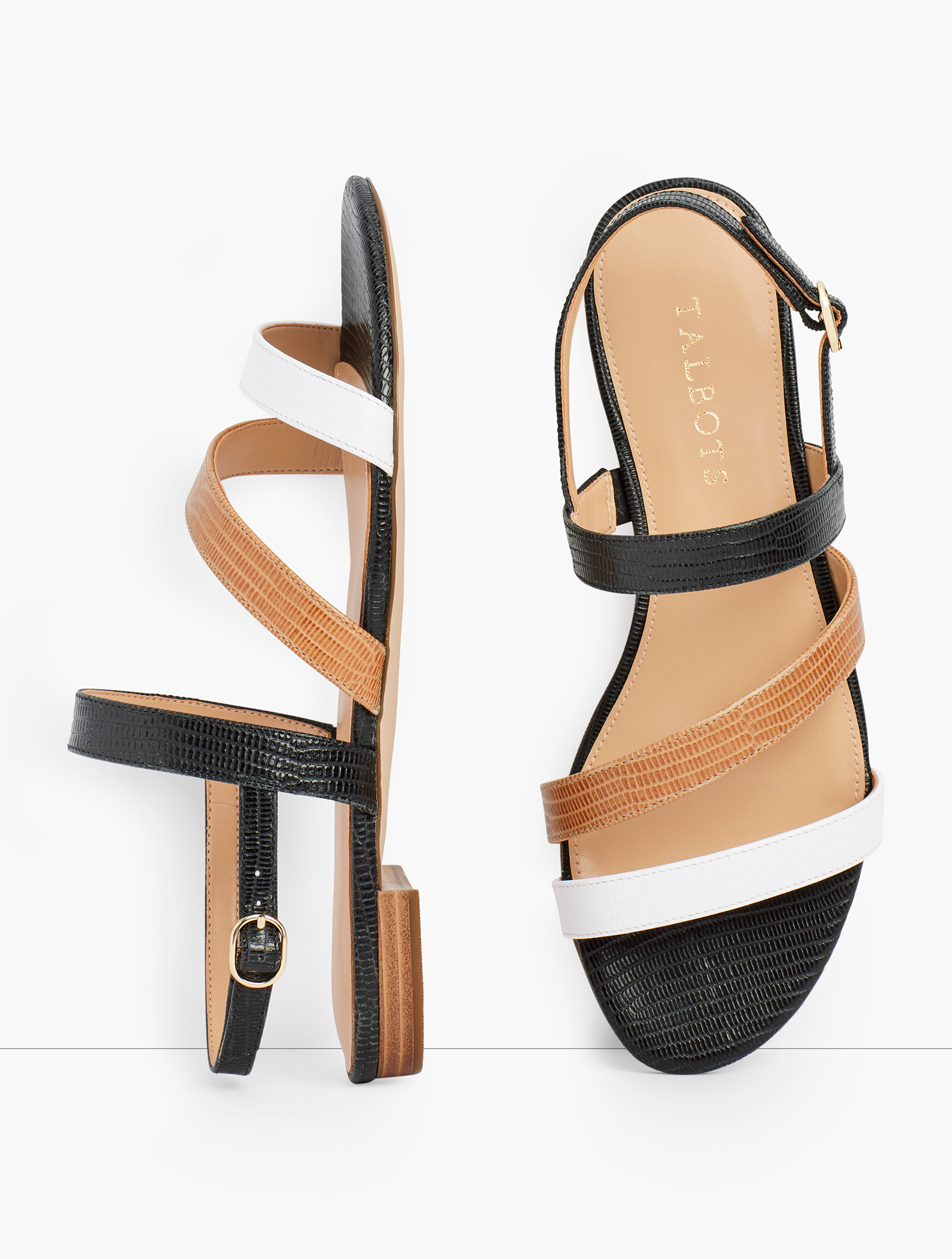 Our Keri Multi Strap Sandals. Ultra chic. Ultra comfortable. With memory foam footbed. Features 1/2 inches heelFlexible Non Skid Outsole9k Shiny Gold Hardware3Mm Memory Foam FootbedImported Material: 100% Leather Keri Multi Strap Sandals - White Havana Tan/Black - 11M Talbots