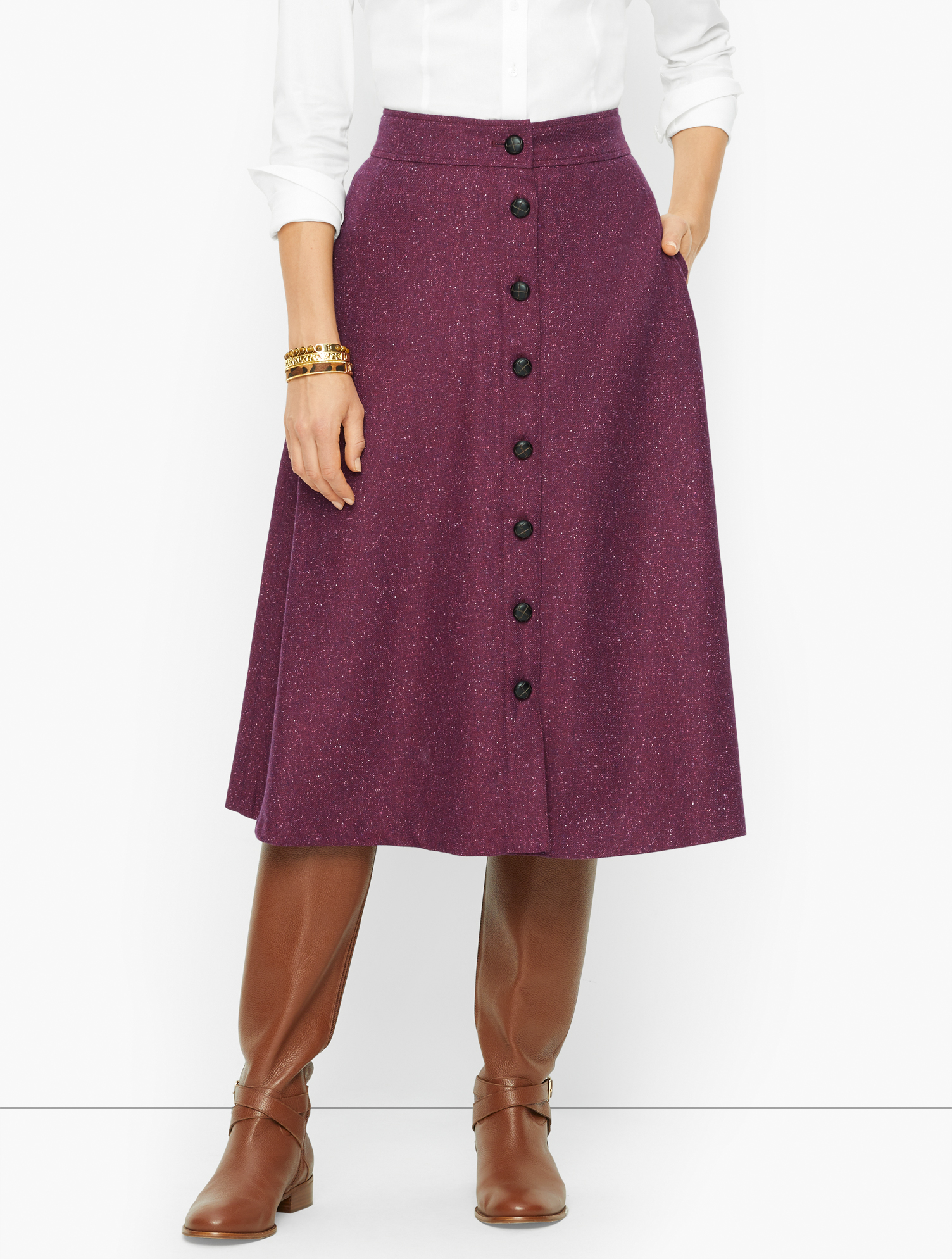 1940s Teenage Fashion: Girls Petite - Donegal Button Front Midi Skirt - Berry - 16 - 100 Cotton Talbots $119.00 AT vintagedancer.com