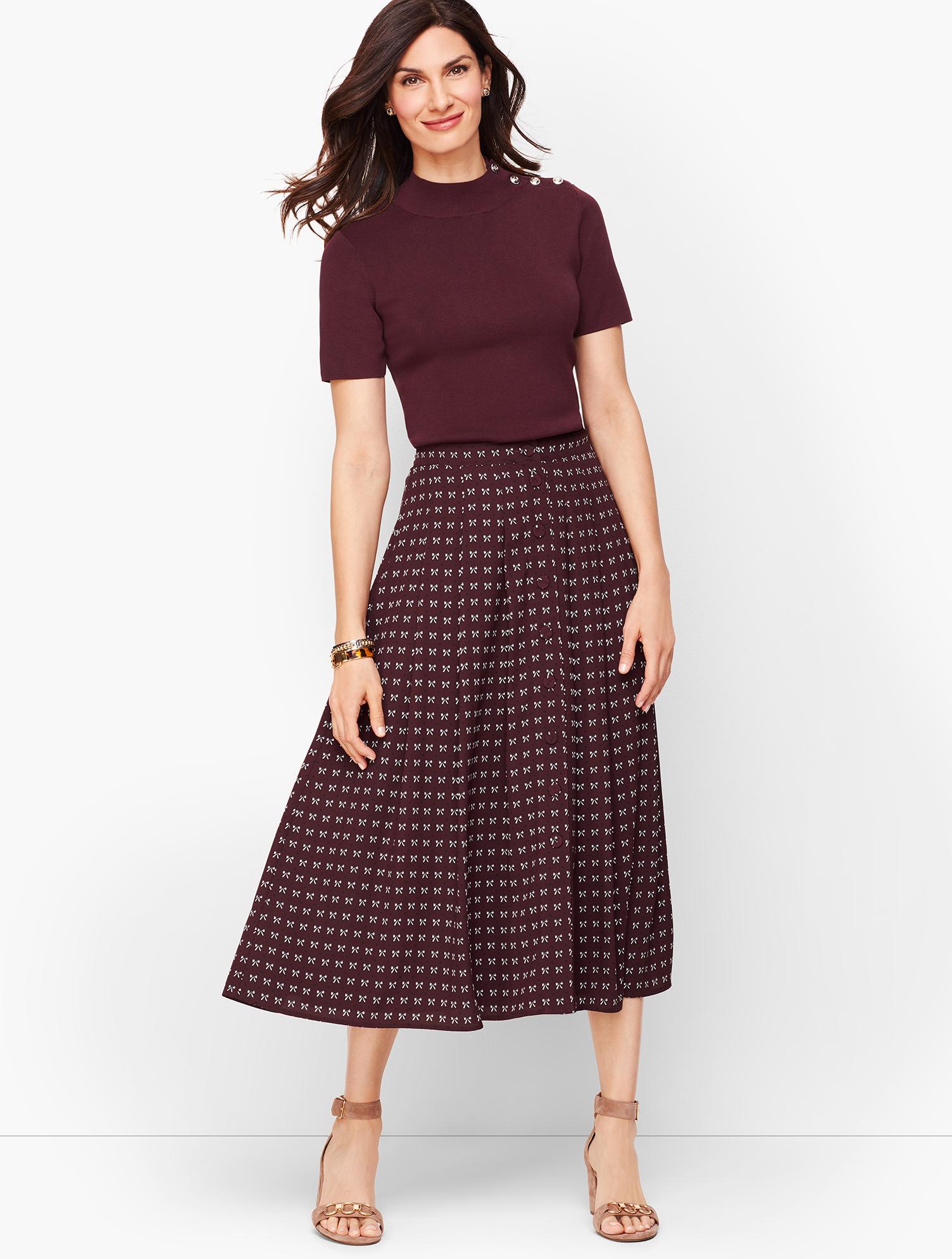 60s Skirts | 70s Hippie Skirts, Jumper Dresses Dotty Bows Midi Skirt - RICH-BURGUNDY - 16 - Talbots $49.99 AT vintagedancer.com