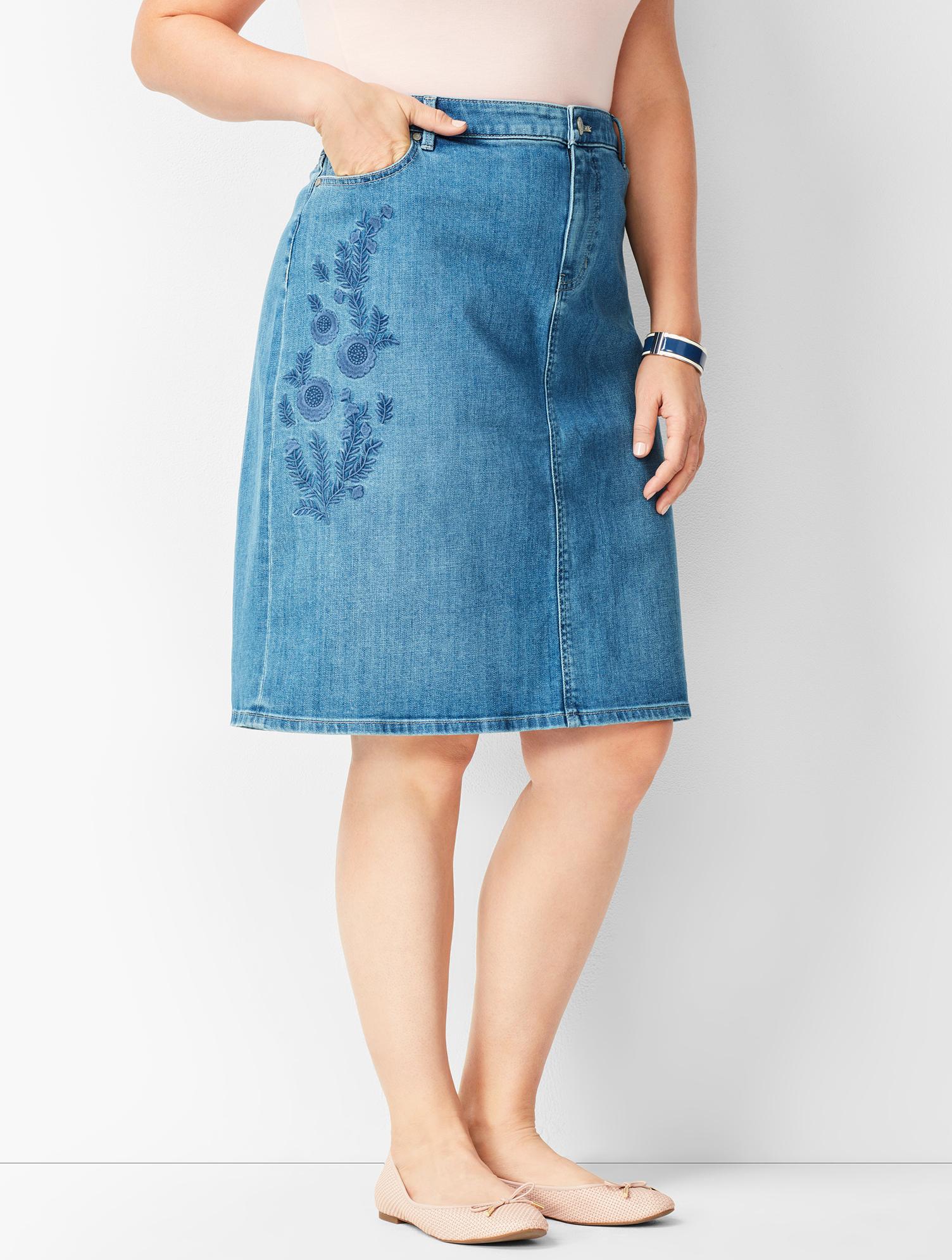 60s Skirts | 70s Hippie Skirts, Jumper Dresses Embroidered Denim Skirt - BLUE-MOON - 22 - Talbots $26.24 AT vintagedancer.com
