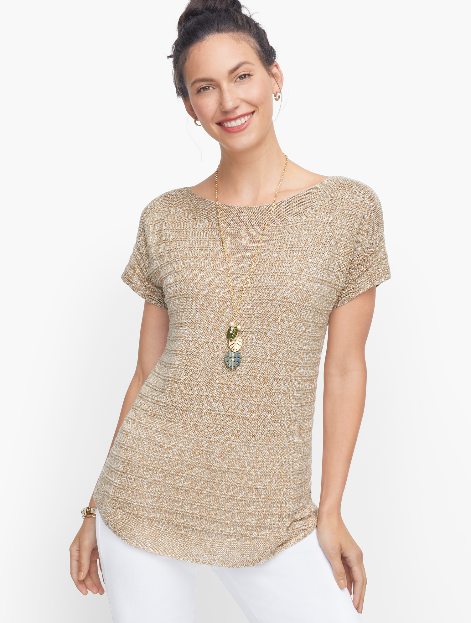 Textured linen. Easy sweater. Pairs with nearly anything effortlessly. Features Sleeve length: Short Neckline: Bateau Hits: At hip Closure: Pullover Imported Fit: Misses: 25 1/2 inches; Petite: 24 inches; Plus 27 1/2 inches Material: 100% Linen Care: Machine Wash; Reshape, Lay flat to dry Chunky Knit Linen Sweater- Marled - Neutral Marl - XL Talbots