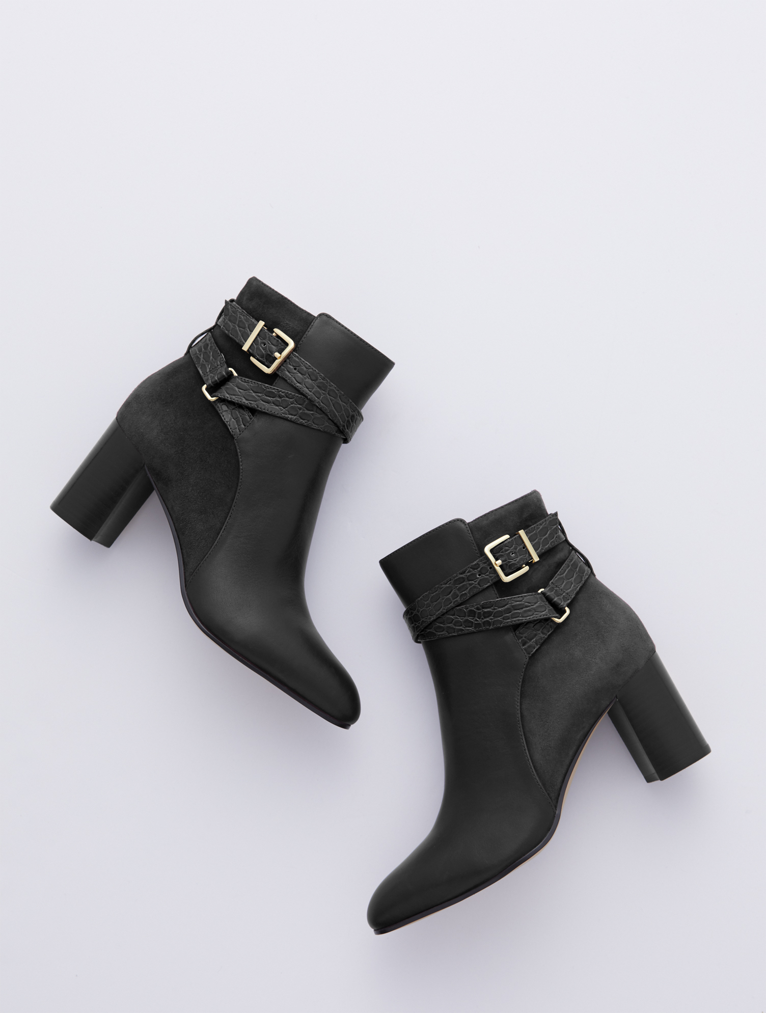 Versatile leather booties with a sleek silhouette, feminine flare heel and almond-shaped toe. Inside-step zip allows for easy on and off. Features 3 inches heelAlmond toe3MM Memory foam footbedImported Material: 100% Leather Simone Vachetta Ankle Boots - Black - 11M Talbots