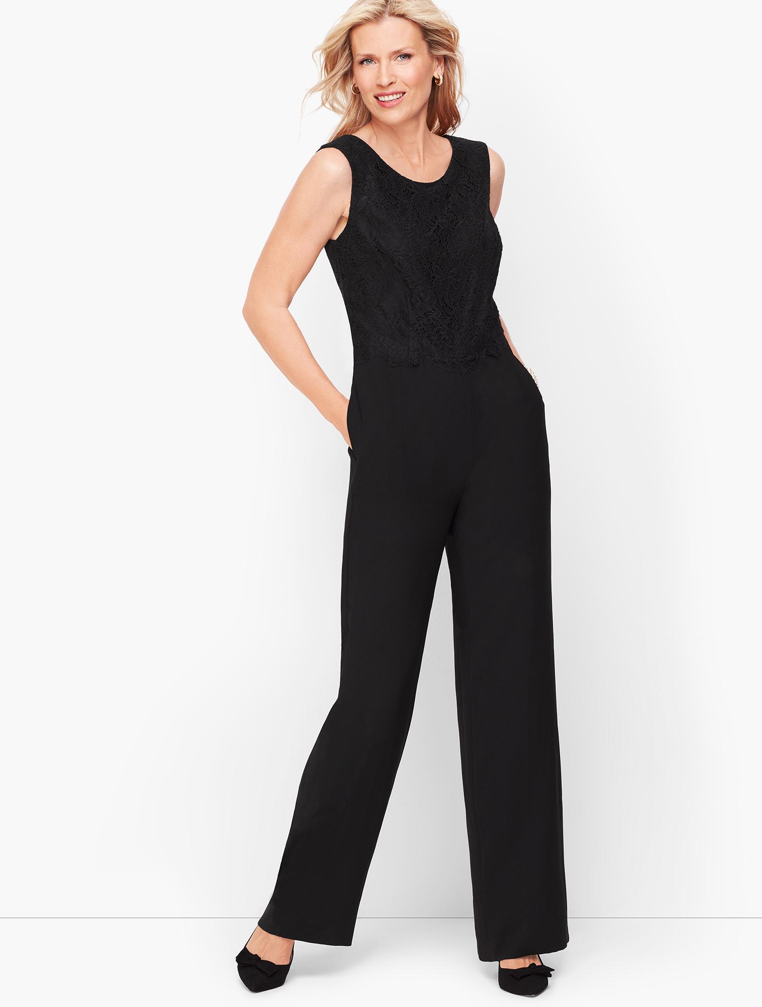70s Jumpsuit   Disco Jumpsuits – Sequin, Striped, Gold, White, Black Crepe  Lace Jumpsuit - BLACK - 16 - Talbots $126.75 AT vintagedancer.com