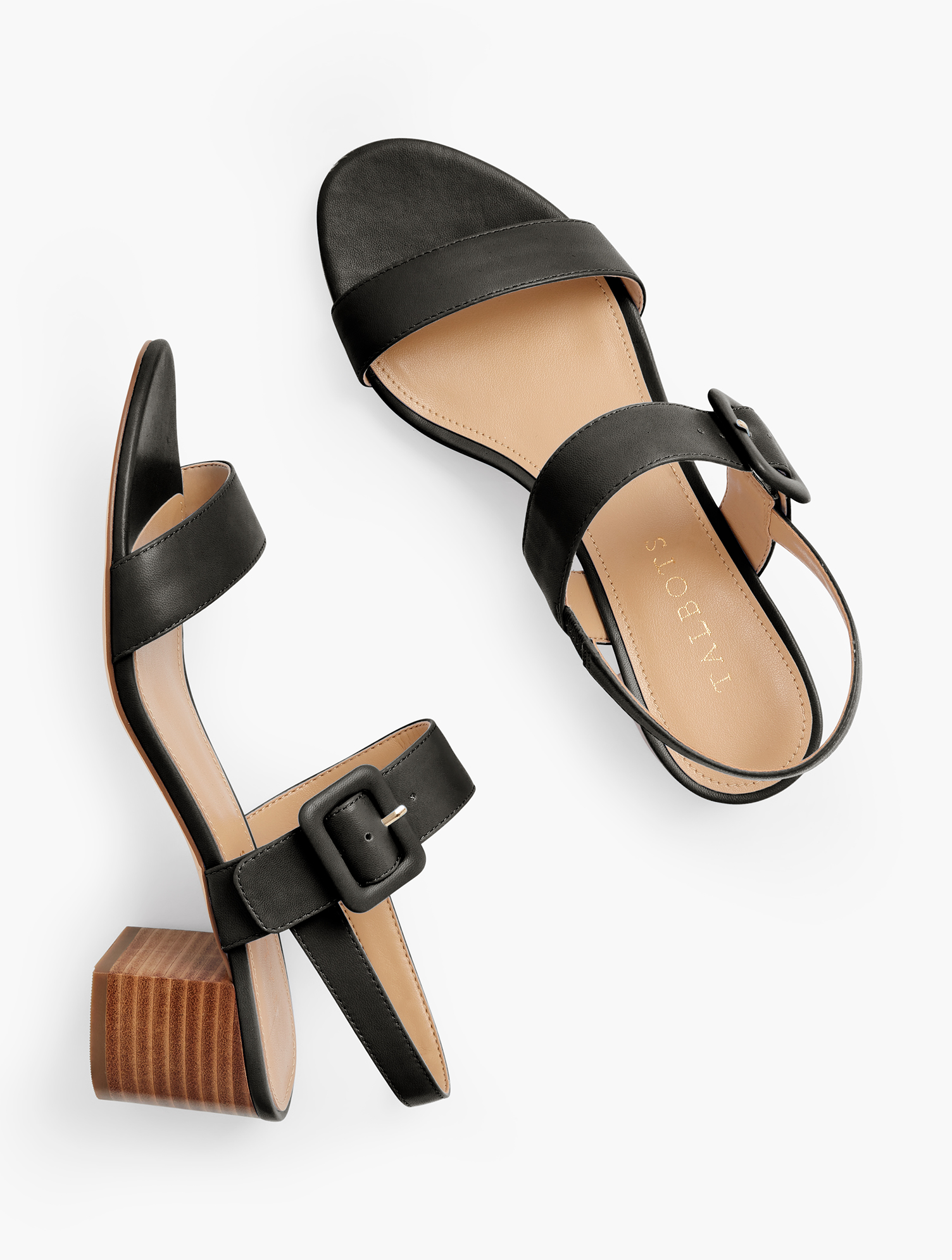 Our chic Mimi block-heel sandals. With fashionable, buckle closure. Crafted from soft Nappa leather for comfort and luxury. Features 2 inches heelFlexible Non Skid Sole3Mm Memory Foam FootbedImported Material: 100% Leather Mimi Leather Block Heel Sandals - Black - 8M Talbots