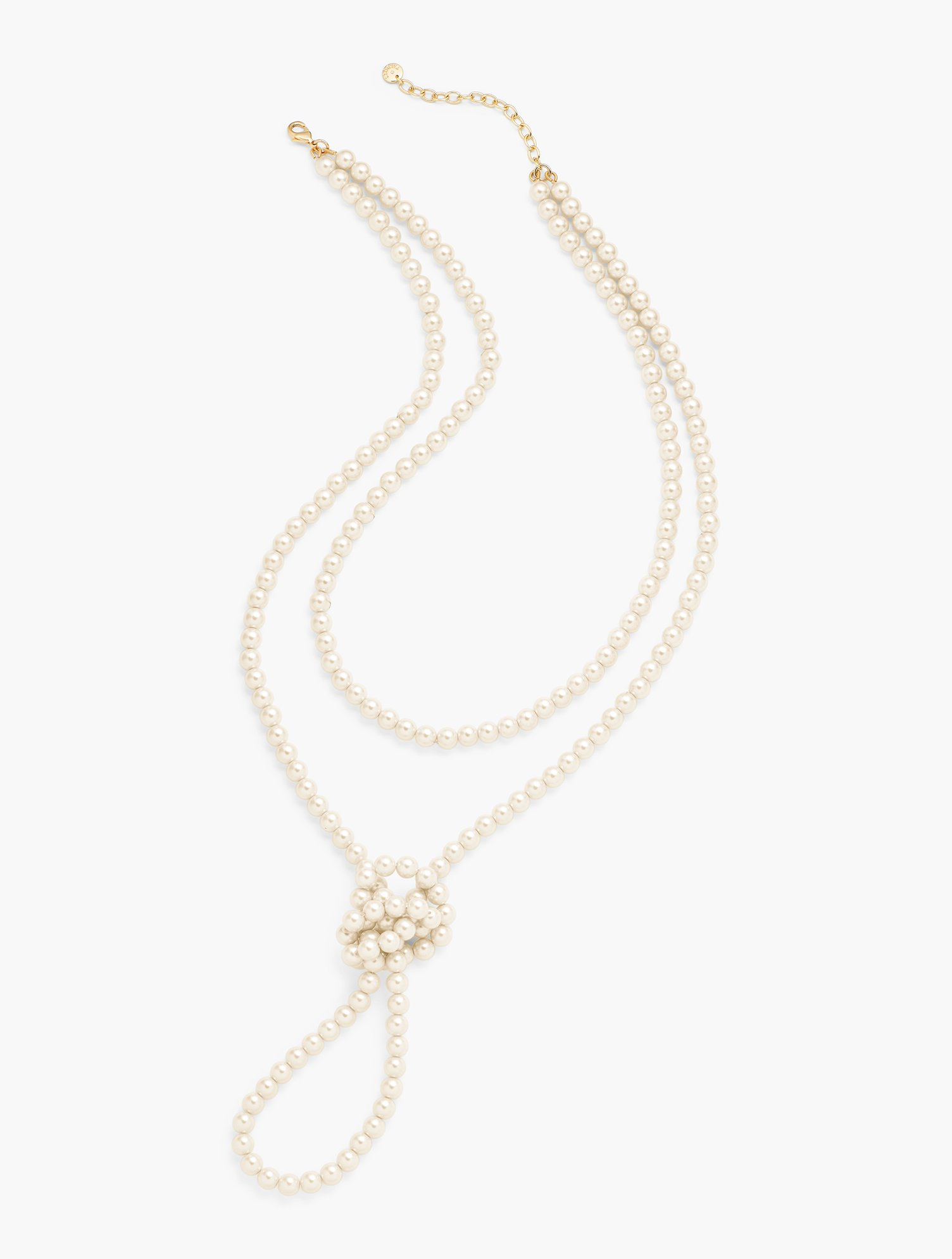 Vintage Style Jewelry, Retro Jewelry Knotted Pearl Necklace - IVORYGOLD - OS - Talbots $59.50 AT vintagedancer.com