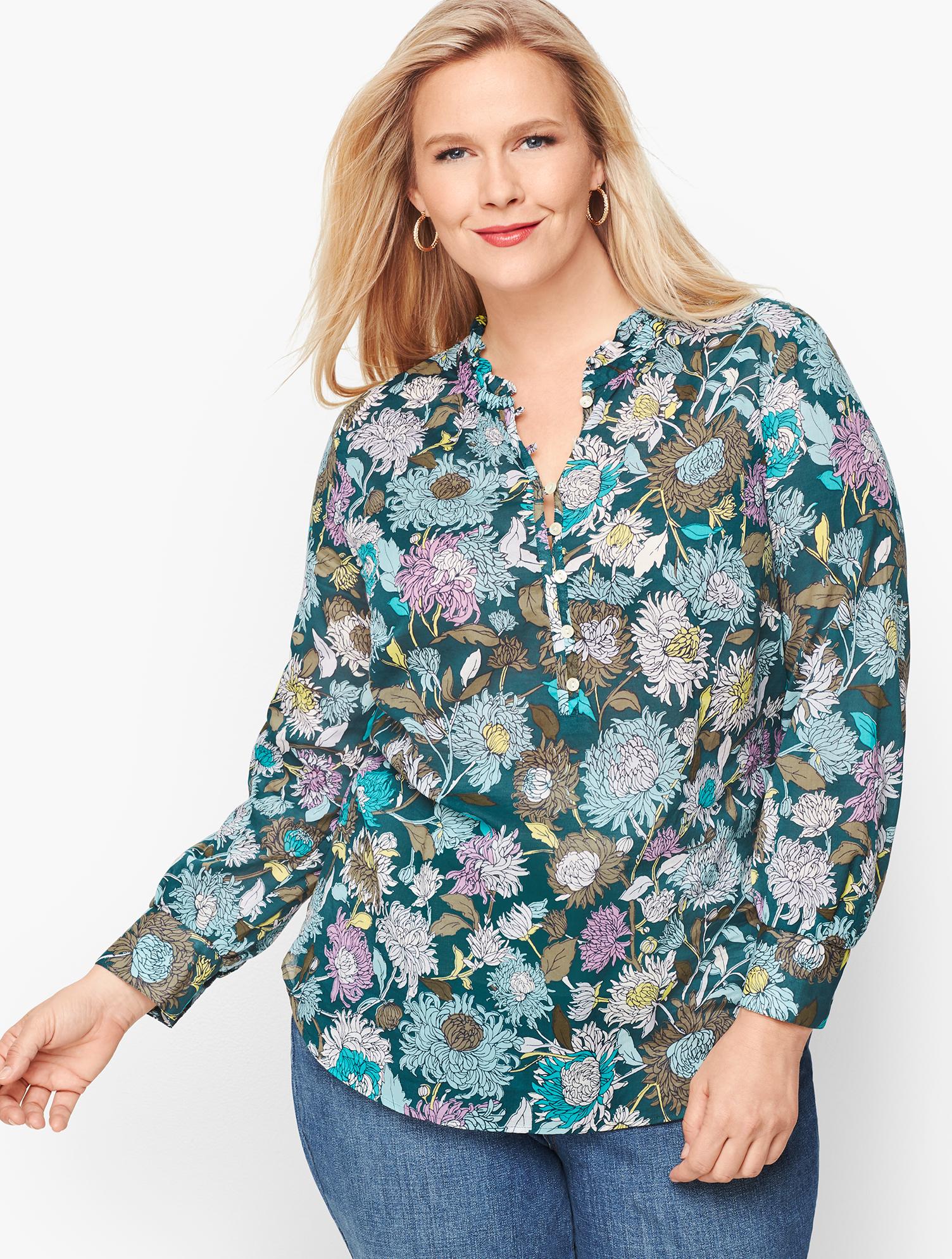 Women's 70s Shirts, Blouses, Hippie Tops Feminine Floral Popover - TWILIGHT-TEAL - 3X - Talbots $67.12 AT vintagedancer.com