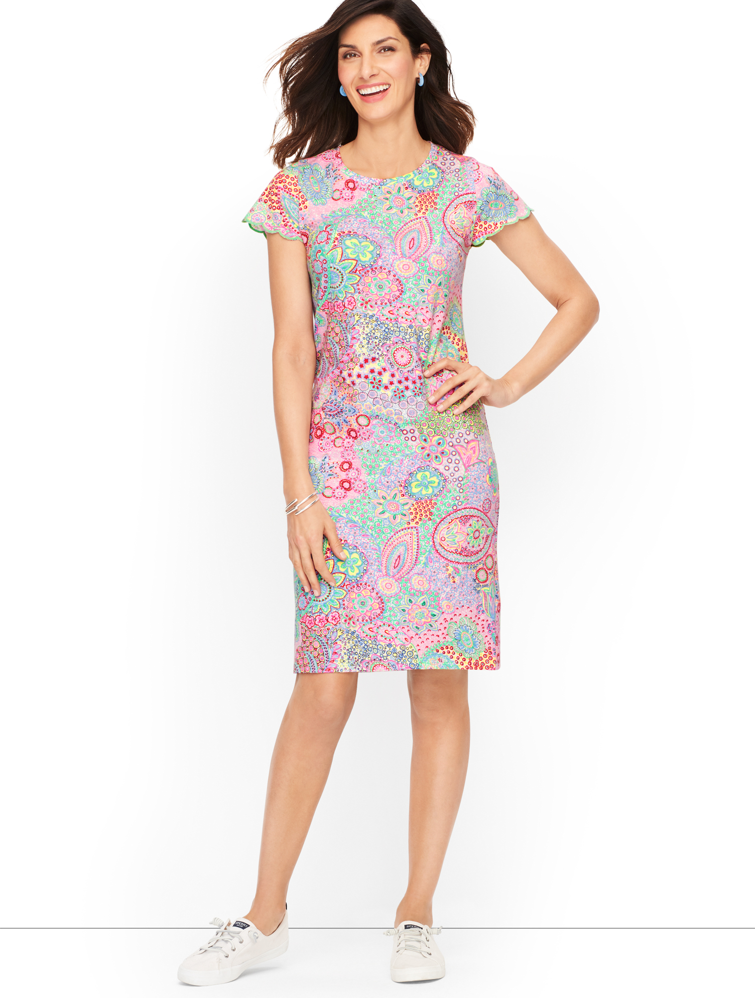 60s 70s Plus Size Dresses, Clothing, Costumes Paisley Shift Dress - Watermelon - 3X - 100 Cotton Talbots $109.00 AT vintagedancer.com