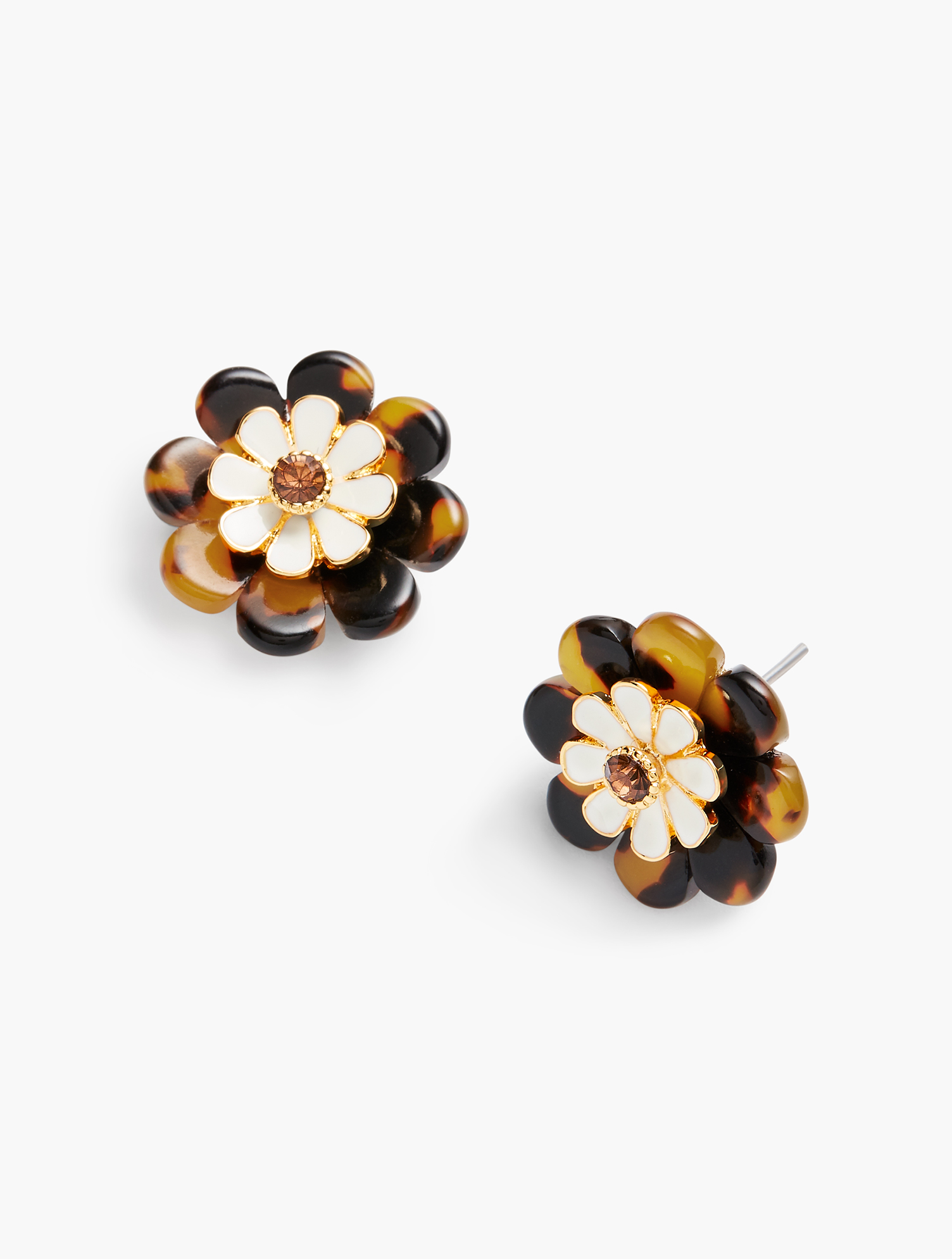 60s -70s Jewelry – Necklaces, Earrings, Rings, Bracelets Layered Tortoise Flower Earrings - TORTOISEIVORYGOLD - OS - Talbots $17.70 AT vintagedancer.com
