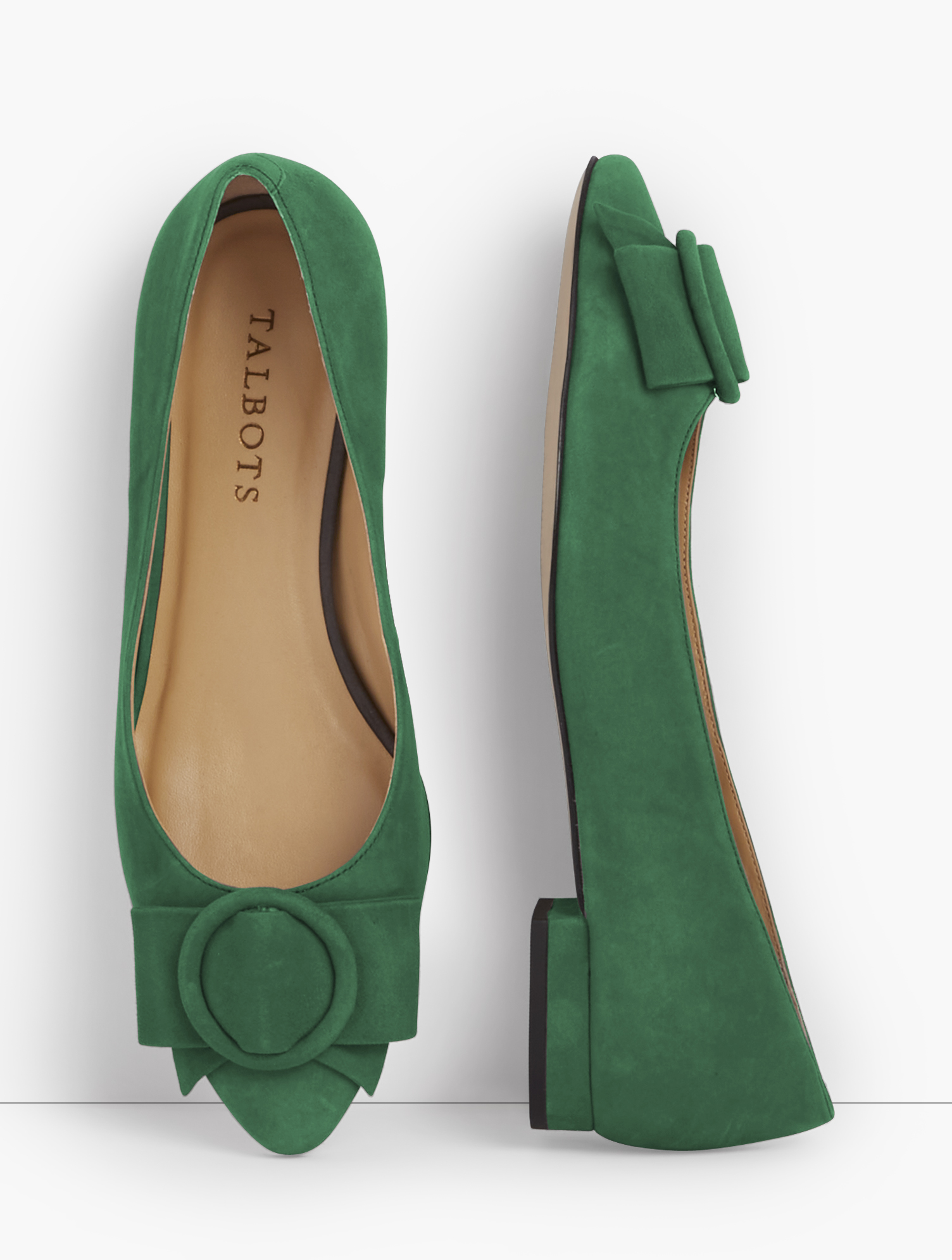 The Edison, in rich suede. Timely and timeless. Updated with a suede ring and bow detail. Features Flat heel Almond Toe 3MM Memory Foam Footbed Suede ring and bow detail on upper Imported Material: 100% Leather Edison Suede Bow Flats - Meadow - 11M Talbots