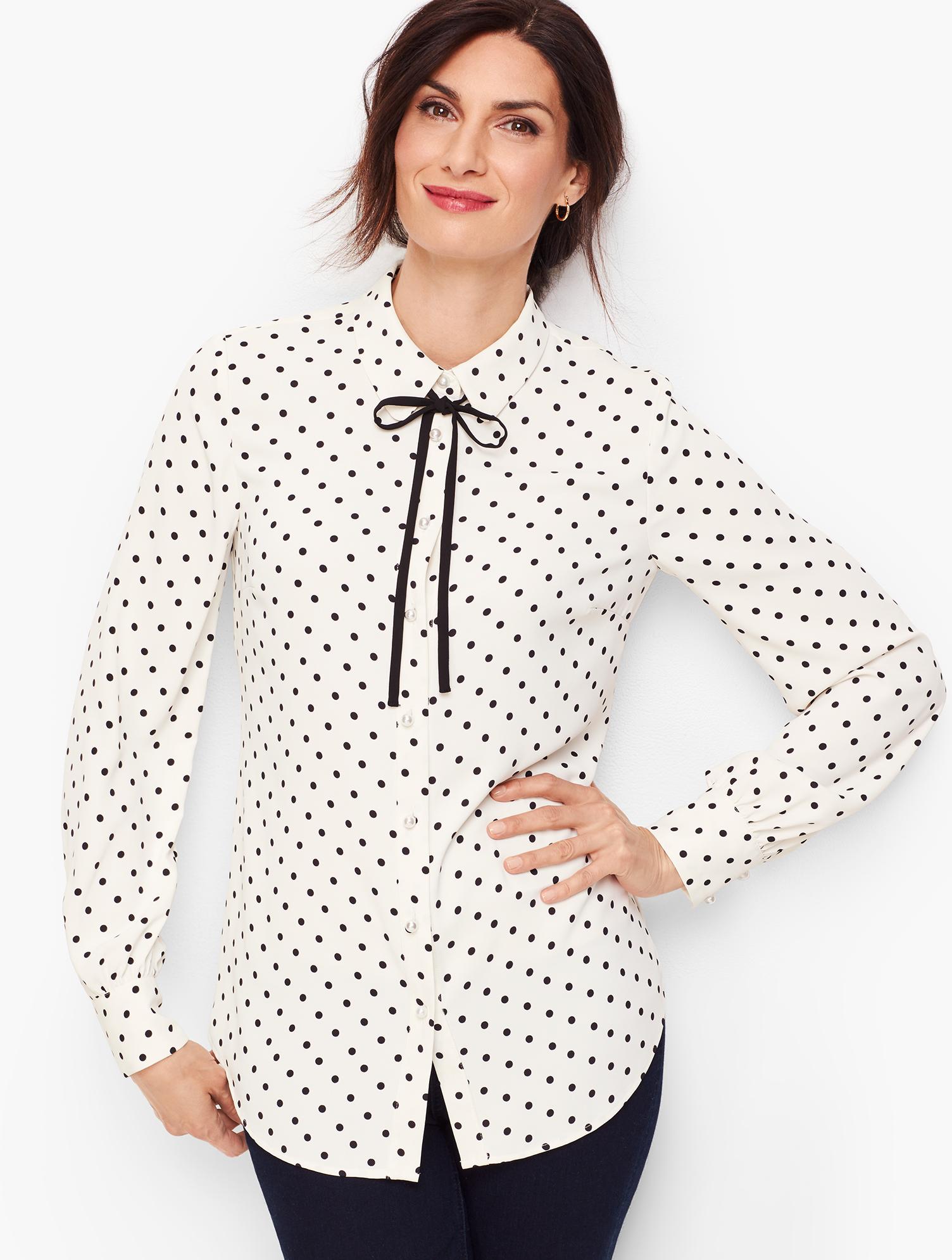 1930s Style Blouses, Shirts, Tops | Vintage Blouses Pearl Button Dot Shirt - IVORYBLACK - XL - Talbots $37.59 AT vintagedancer.com
