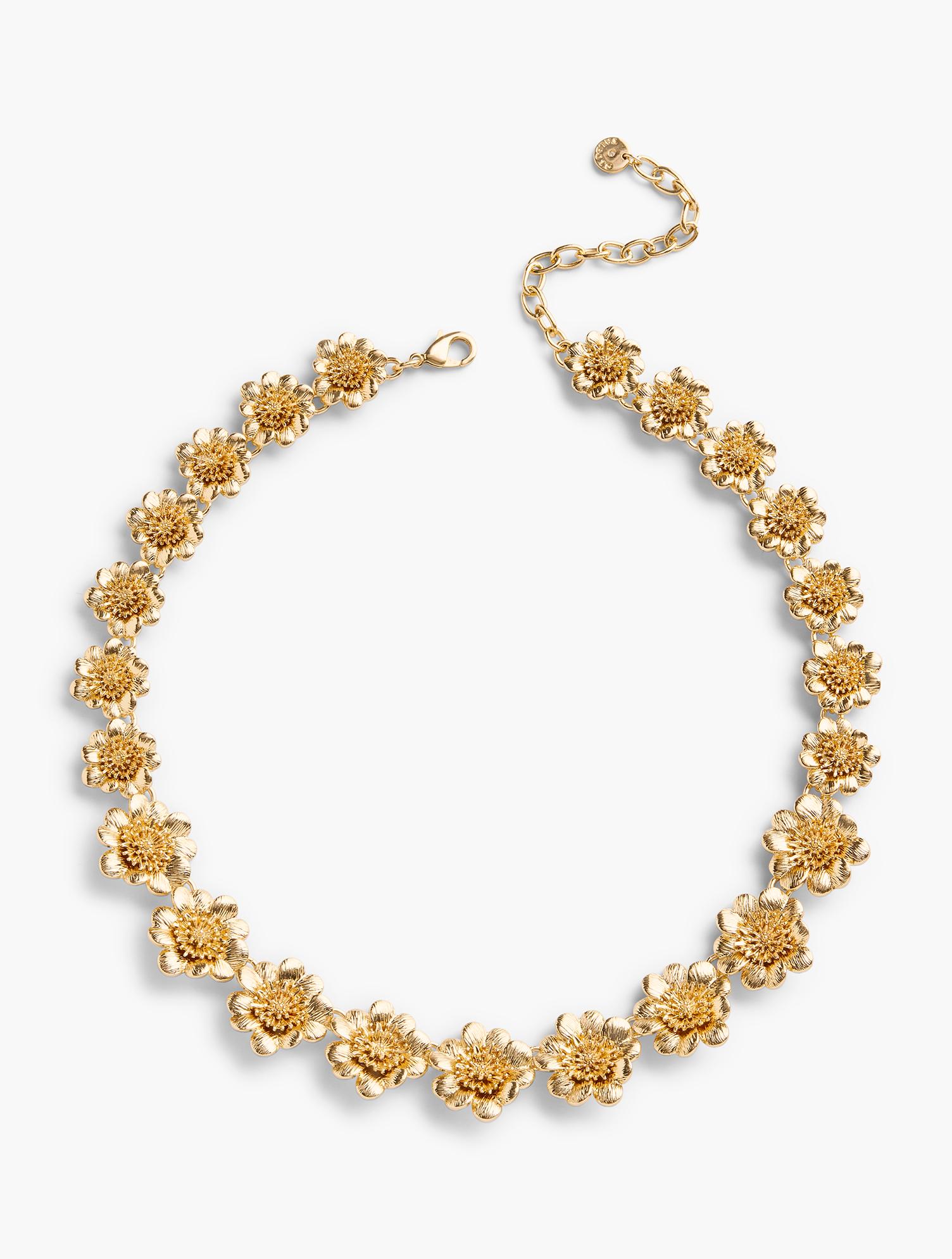 50s Jewelry: Earrings, Necklace, Brooch, Bracelet Short Flower-bud Necklace - GOLD - OS - Talbots $79.50 AT vintagedancer.com
