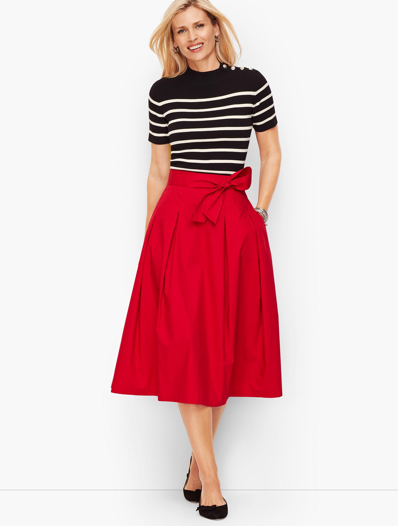 60s Skirts | 70s Hippie Skirts, Jumper Dresses Poplin Full Skirt - RED-POP - 16 - Talbots $44.99 AT vintagedancer.com