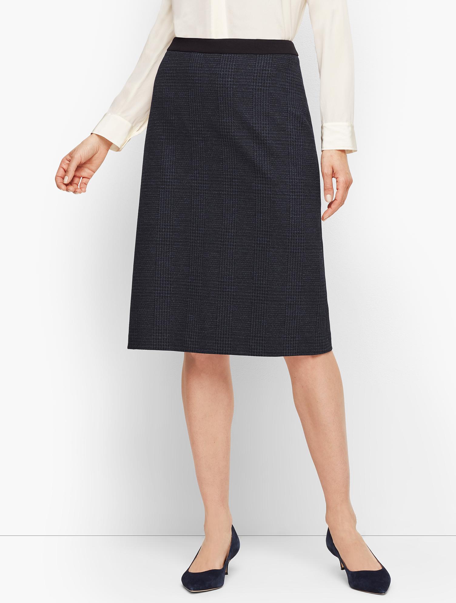 60s Skirts | 70s Hippie Skirts, Jumper Dresses Luxe Knit Plaid A-line Skirt - NAVYBLACK - 16 - Talbots $104.25 AT vintagedancer.com