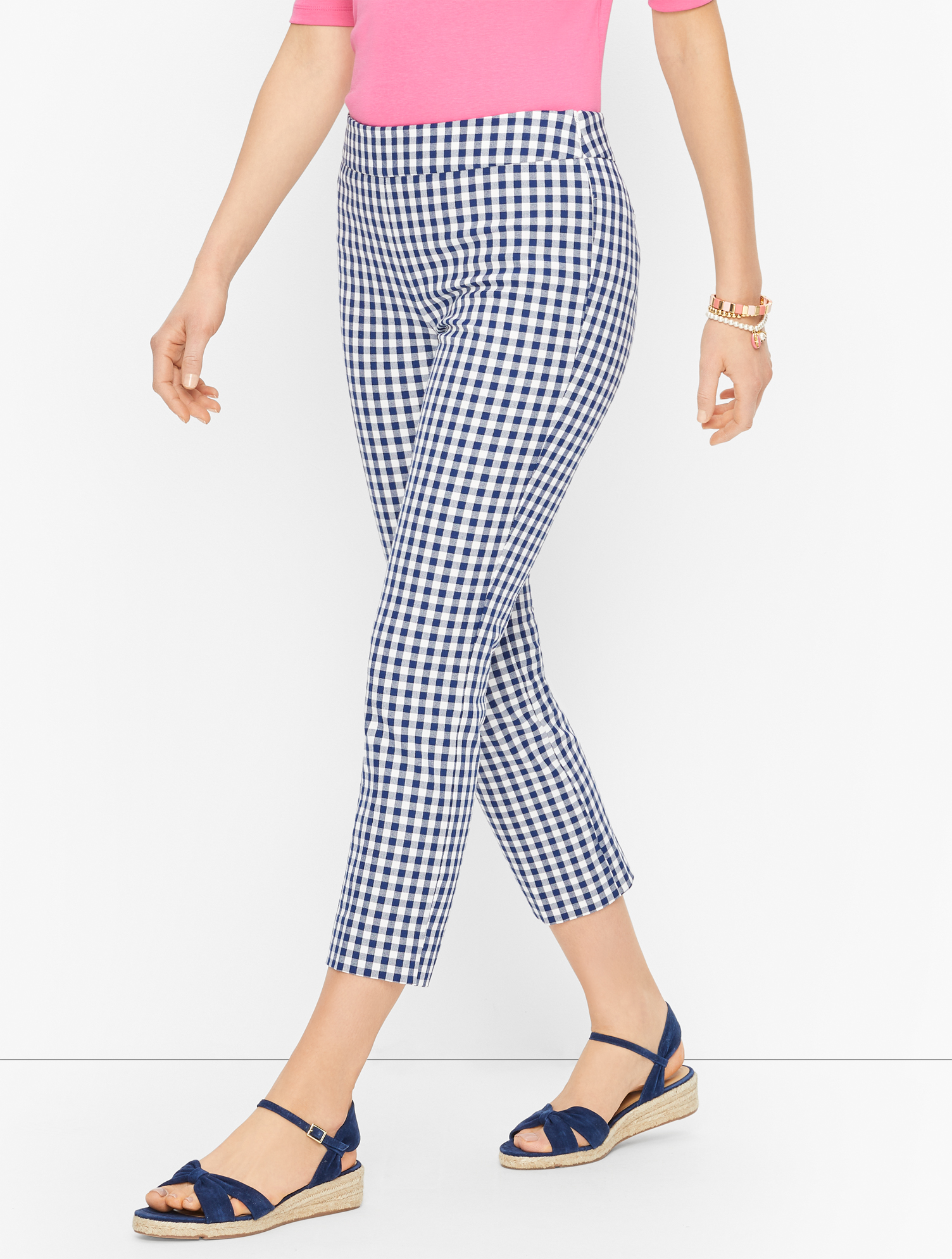 1960s Pants – Top 10 Styles for Women Talbots Chatham Crops Pants - Gingham - WhiteInk - 16 $99.00 AT vintagedancer.com