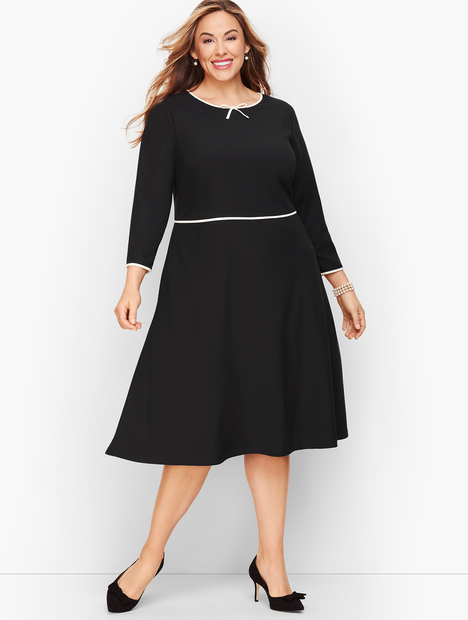 60s 70s Plus Size Dresses, Clothing, Costumes Tipped Colorblock Fit  Flare Dress - Black - 16 Talbots $159.99 AT vintagedancer.com