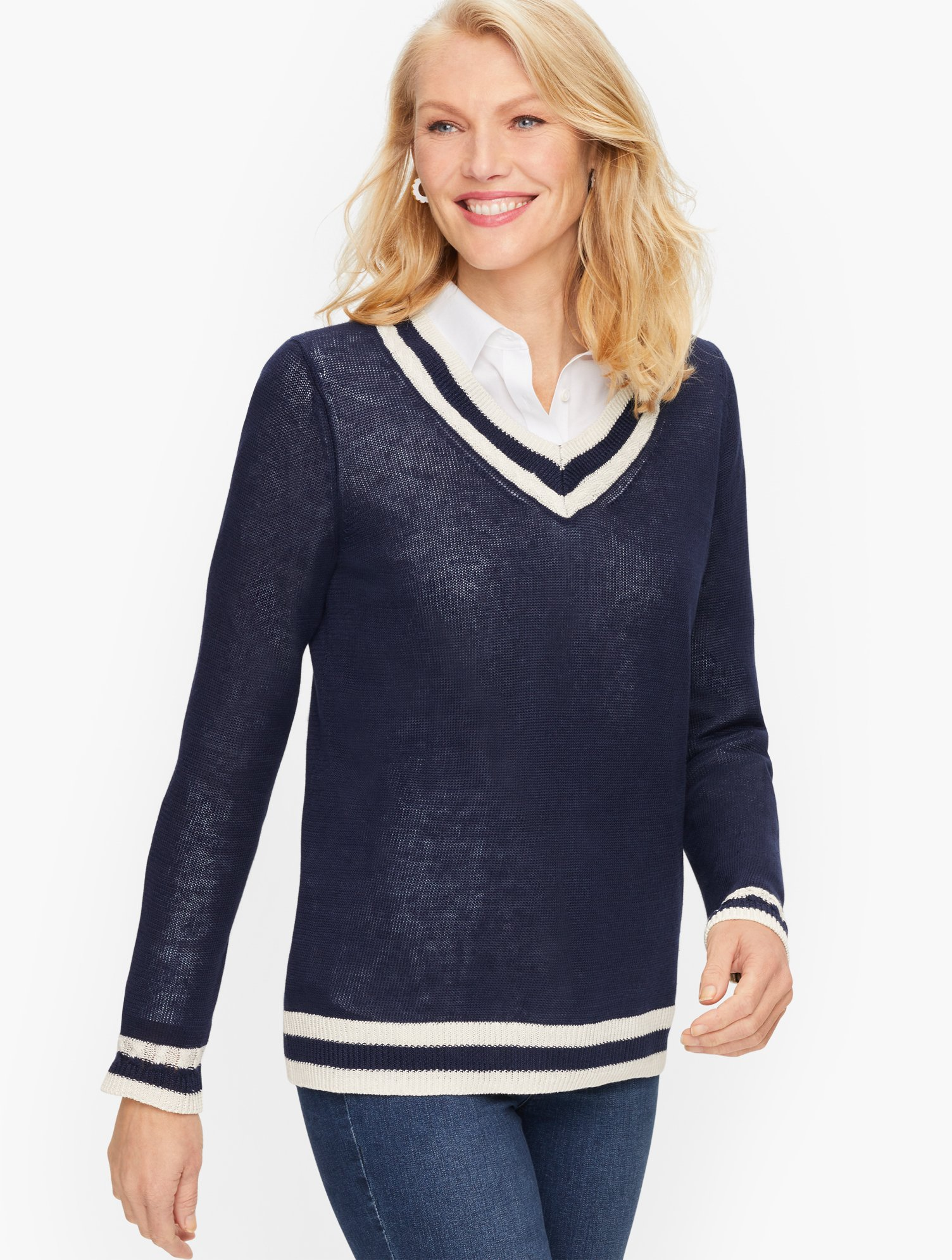 Ladies' Colorful 1920s Sweaters and Cardigans History Linen V-Neck Sweater - IndigoIvory - 3X Talbots $99.00 AT vintagedancer.com