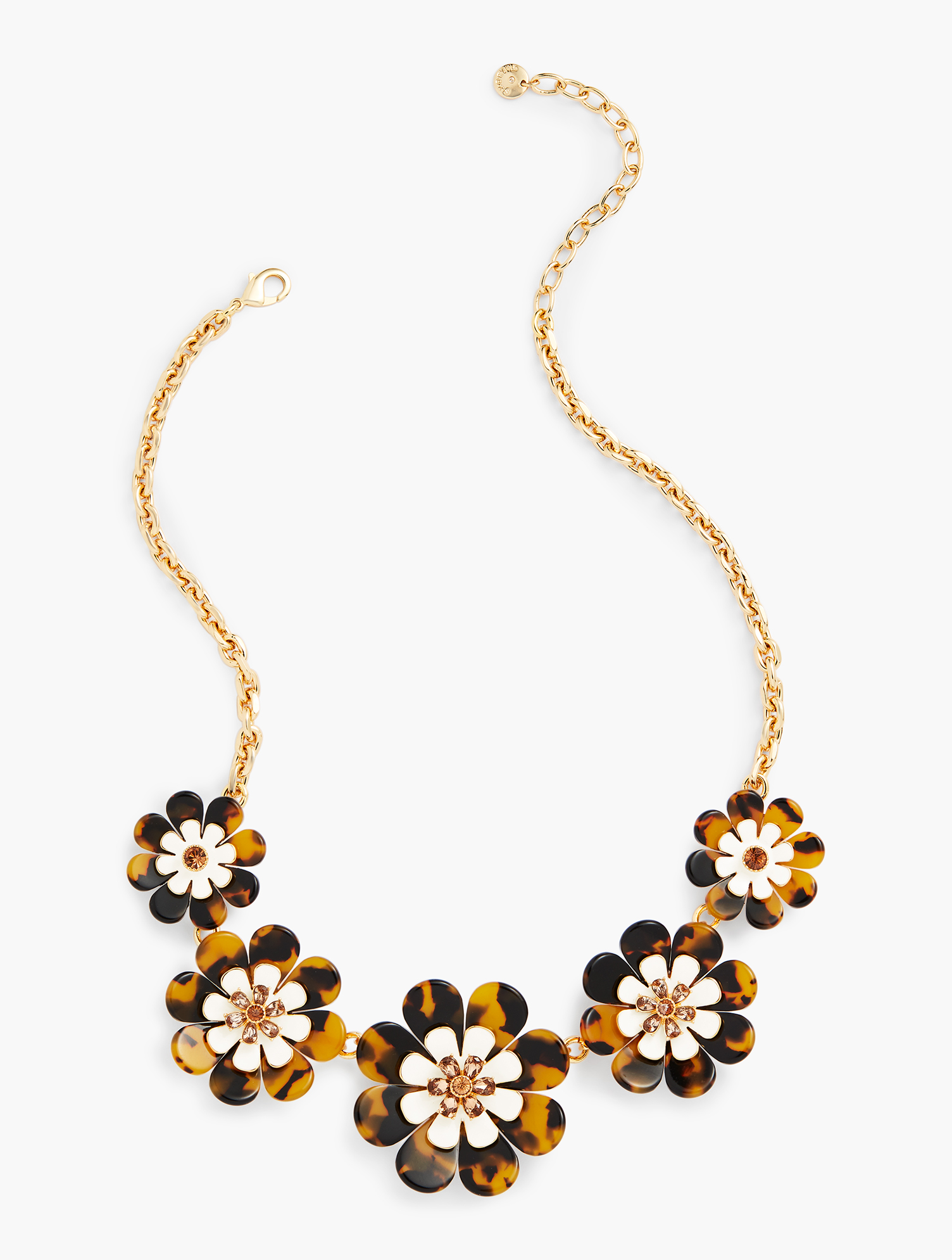60s -70s Jewelry – Necklaces, Earrings, Rings, Bracelets Layered Tortoise Flower Necklace - TORTOISEIVORYGOLD - OS - Talbots $47.70 AT vintagedancer.com