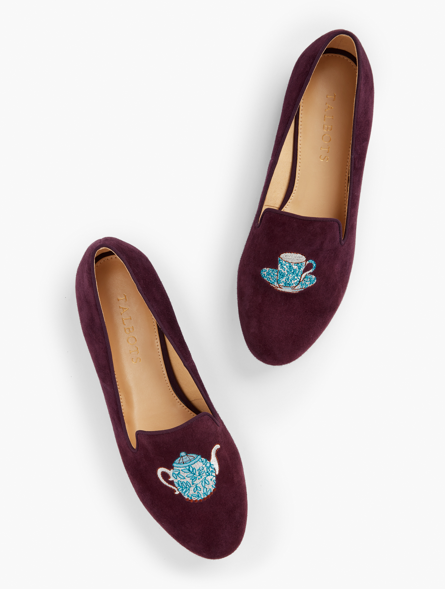 Retro Vintage Flats and Low Heel Shoes Ryan Buckle Loafers - Embroidered - Rich Burgundy - 11M Talbots $129.00 AT vintagedancer.com